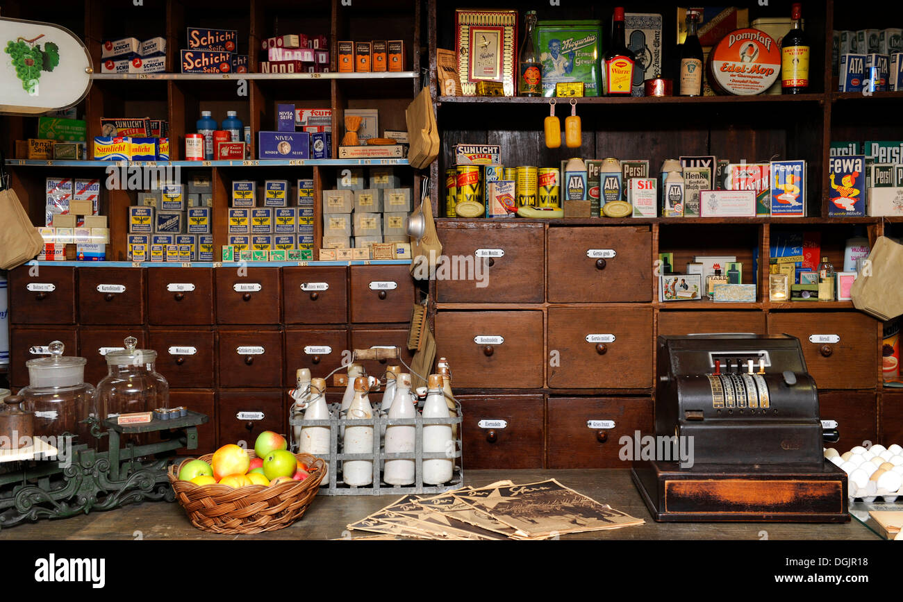Oldfashioned village shop from the 50s, Heimatmuseum Wolfratshausen museum for local history, Upper Bavaria, Bavaria - Stock Image
