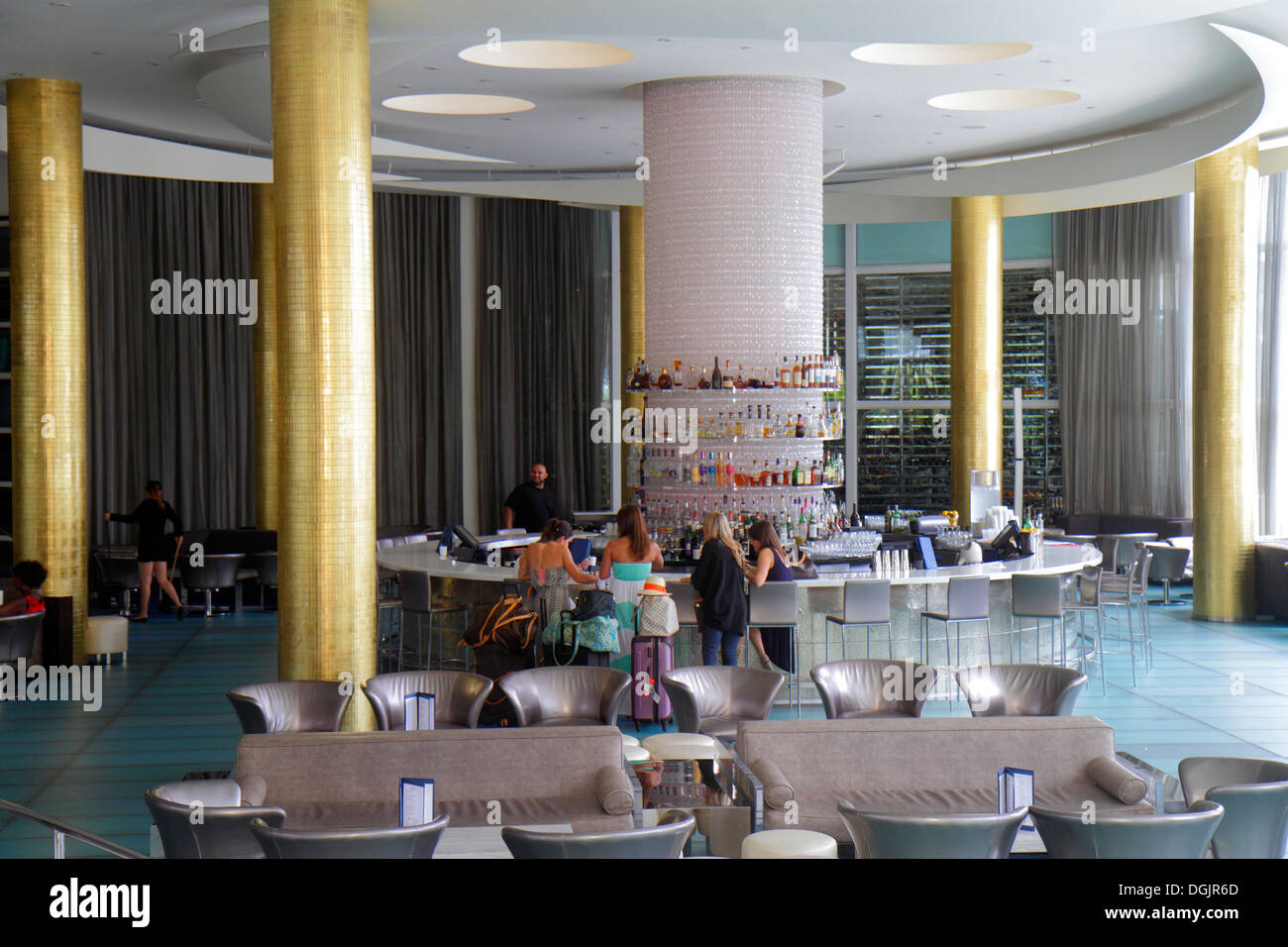 Miami Beach Florida Collins Avenue Fontainebleau Miami Beach Hotel Inside  Interior Lobby Bar   Stock Image