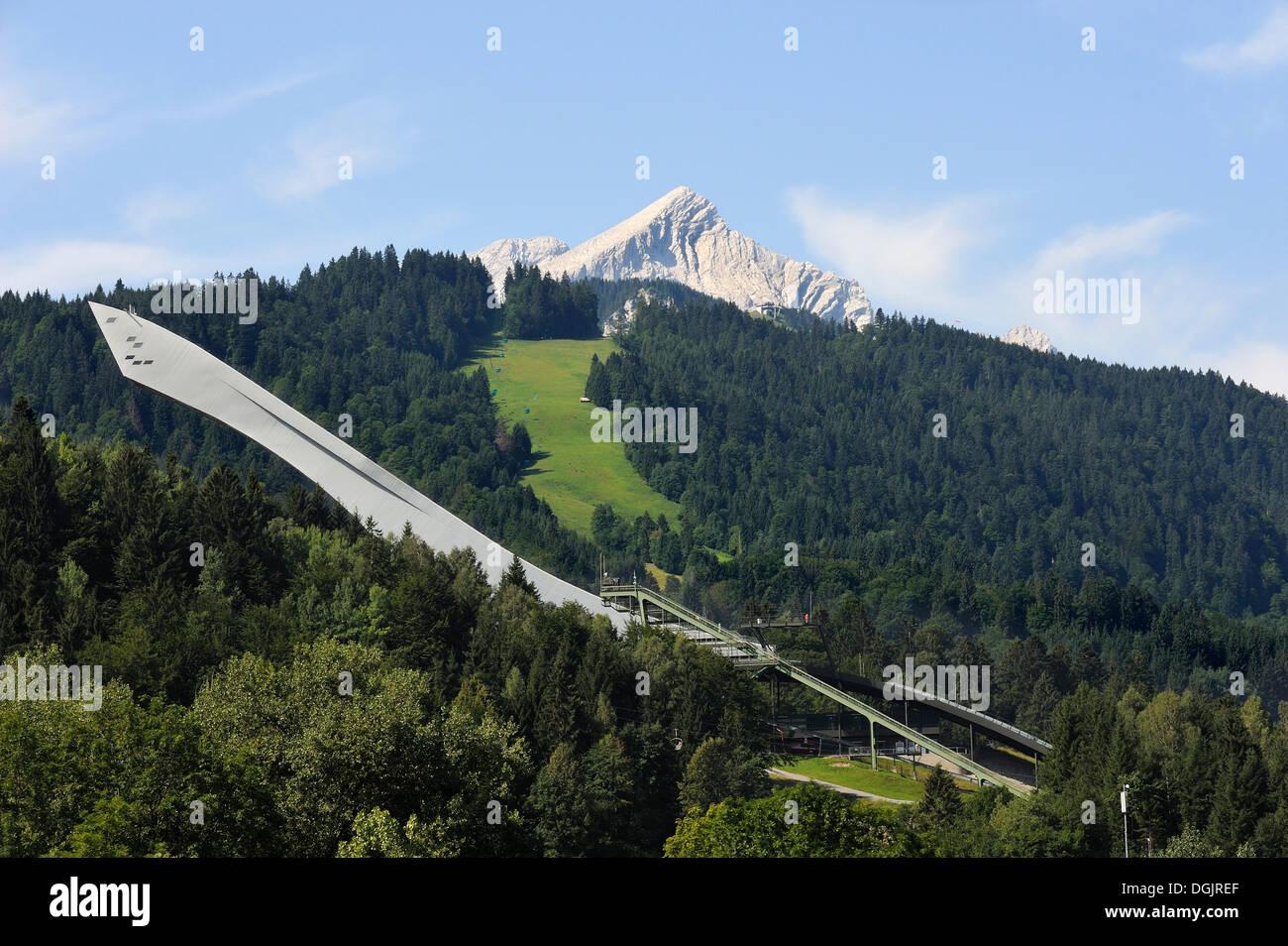 Ski jump, Olympiastadion stadium, Garmisch-Partenkirchen, Werdenfelser Land region, Upper Bavaria, Bavaria - Stock Image