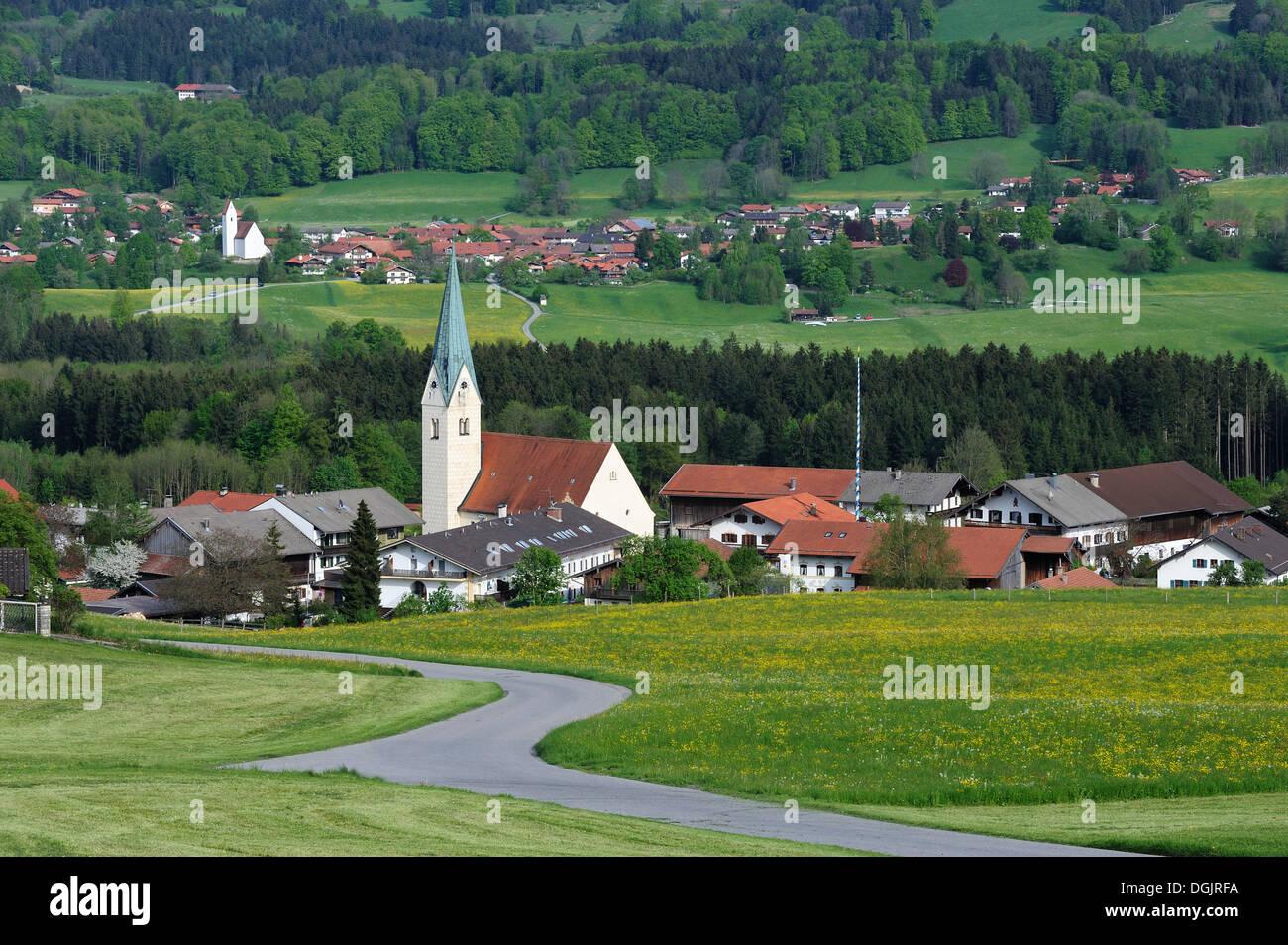 Communities of Toerwang and Grainbach, Samerberg, Chiemgau region, Upper Bavaria, Bavaria, PublicGround - Stock Image