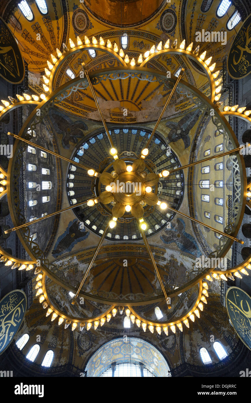 Dome ceiling and chandelier hagia sophia ayasofya unesco world dome ceiling and chandelier hagia sophia ayasofya unesco world cultural heritage site istanbul european side aloadofball Images
