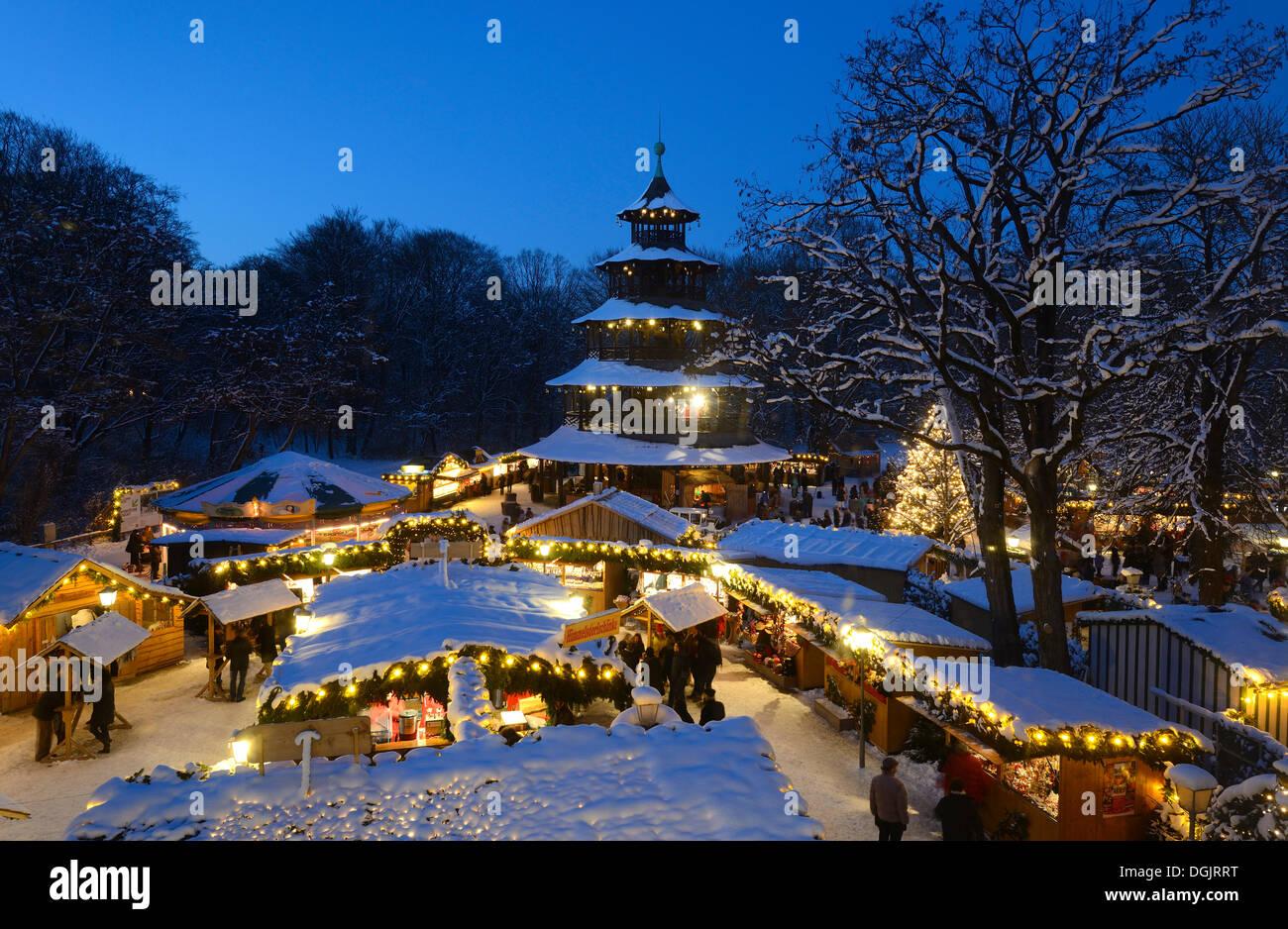 Christmas market at the Chinese Tower, English Gardens, Munich, Upper Bavaria, Bavaria, Germany - Stock Image