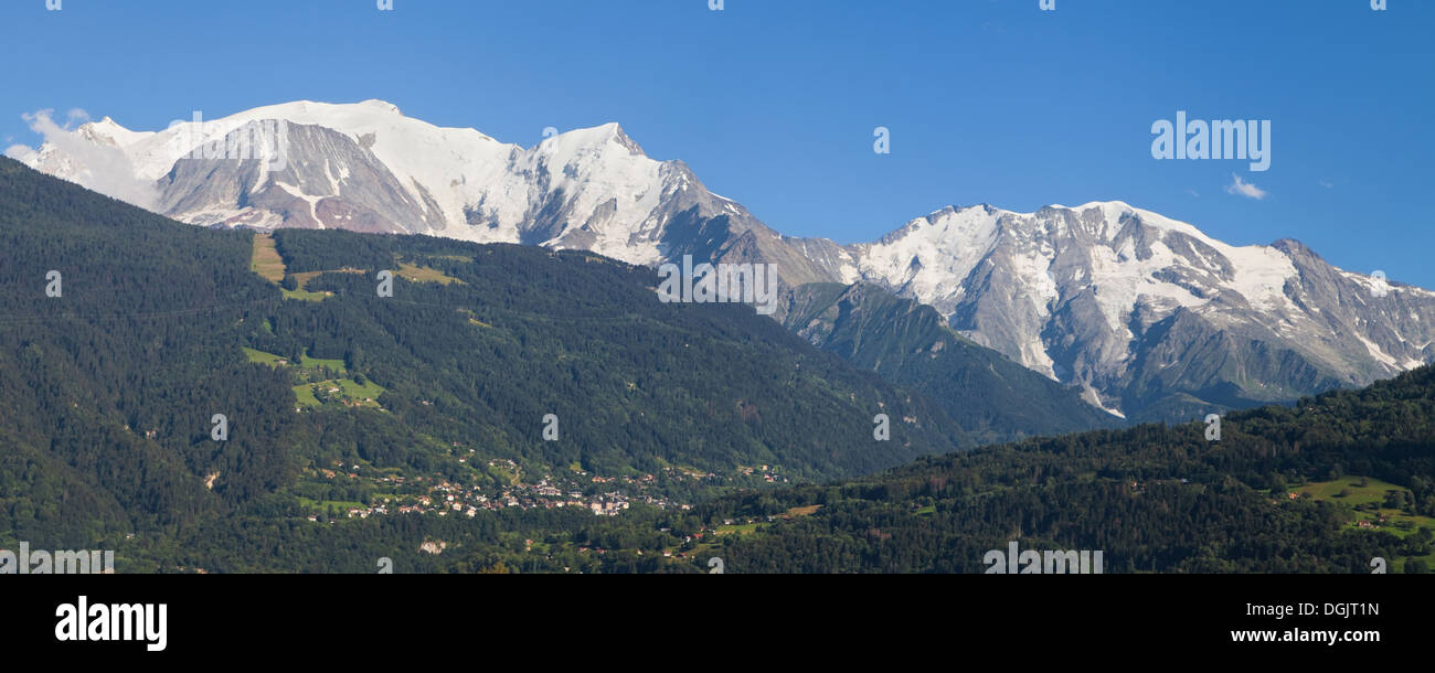 Mont Blanc and Domes de Miage from Passy, Haute-Savoie, France. - Stock Image