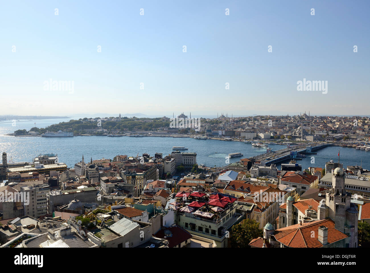 Golden Horn Sultanahmet district with Topkapi Palace, Hagia Sophia and Blue Mosque, Galata Bridge - Stock Image