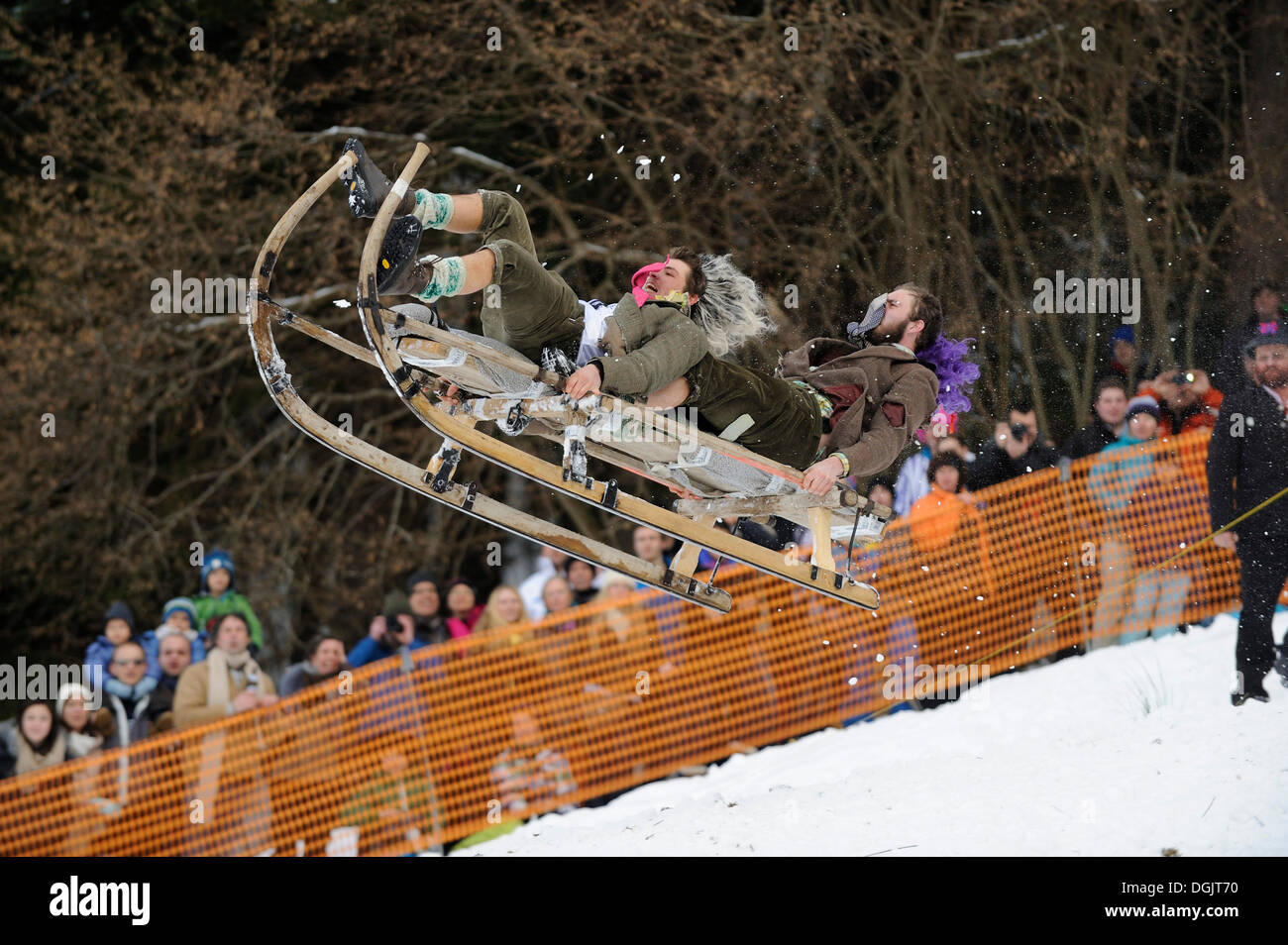 Gaissach horn sledging race, carnival custom, Gaissach, Upper Bavaria, Bavaria, Germany - Stock Image