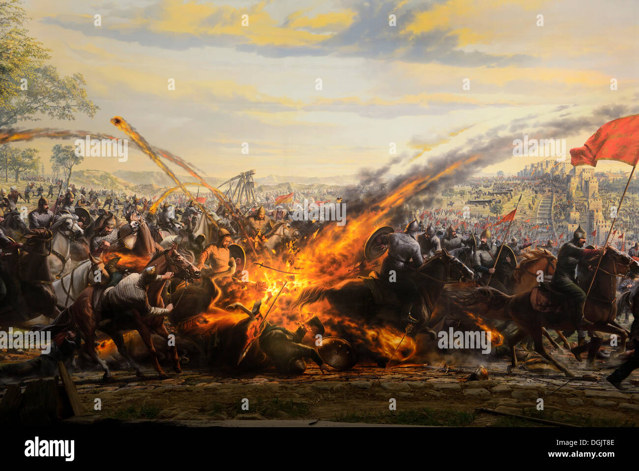 Painting of the conquest of Constantinople by the Ottomans in 1453, in the Panorama 1453 History Museum, Istanbul, European side - Stock Image