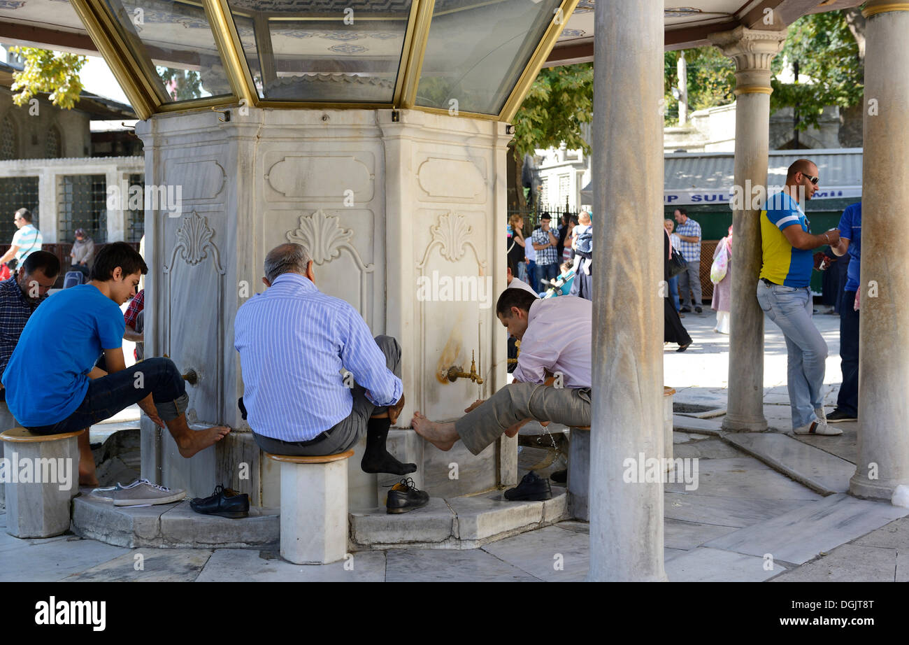 Purification fountain at the Eyuep Sultan Mosque, ritual foot washing, Eyüp, Istanbul, European side, Istanbul - Stock Image