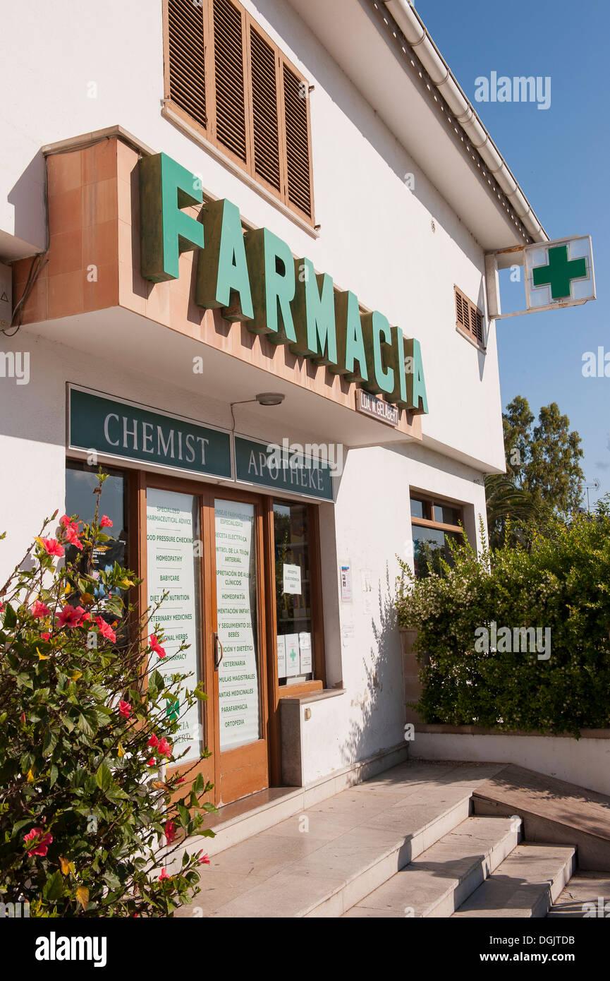 Chemist shop in Mallorca. - Stock Image