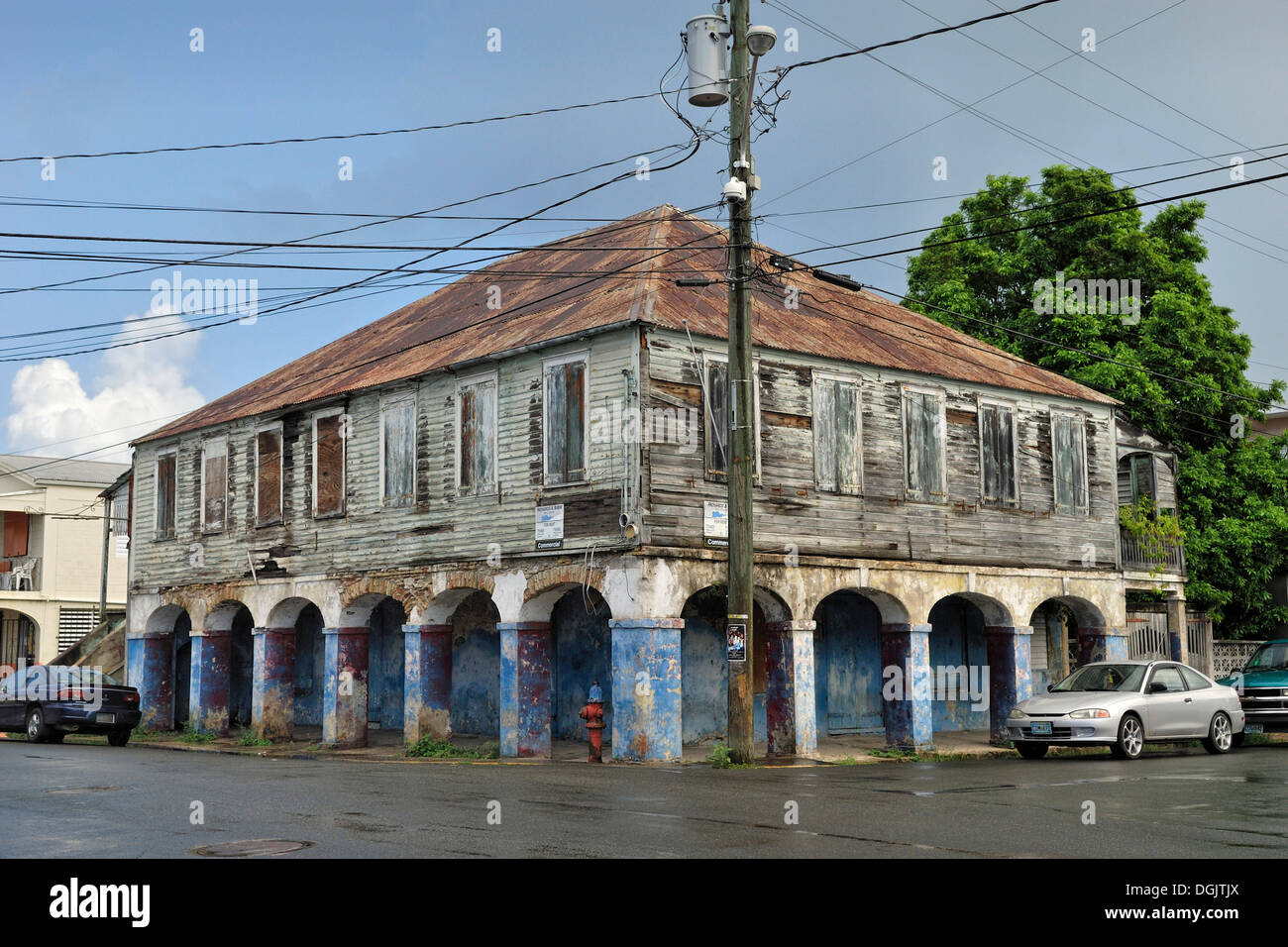 Old House With Arcades, In Need Of Renovation, Frederiksted, St. Croix  Island, US Virgin Islands, USA