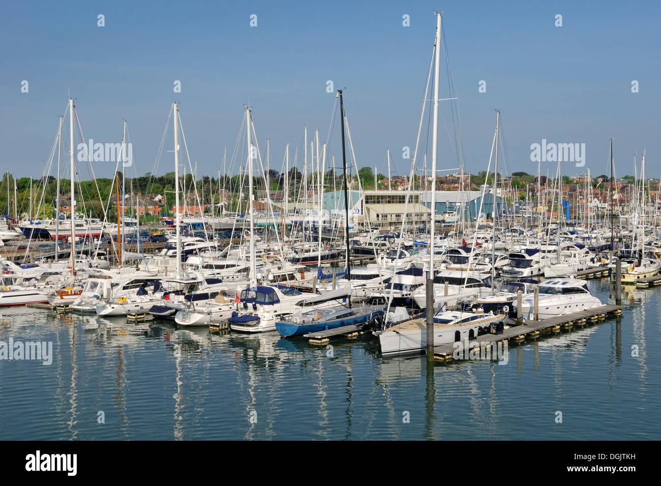 Sailing ships in the port of Lymington, southern England, England, United Kingdom, Europe - Stock Image