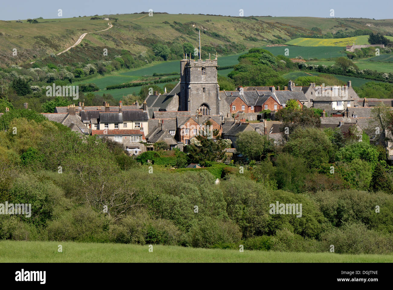 Corfe Castle Village, Dorset, southern England, England, UK, Europe - Stock Image