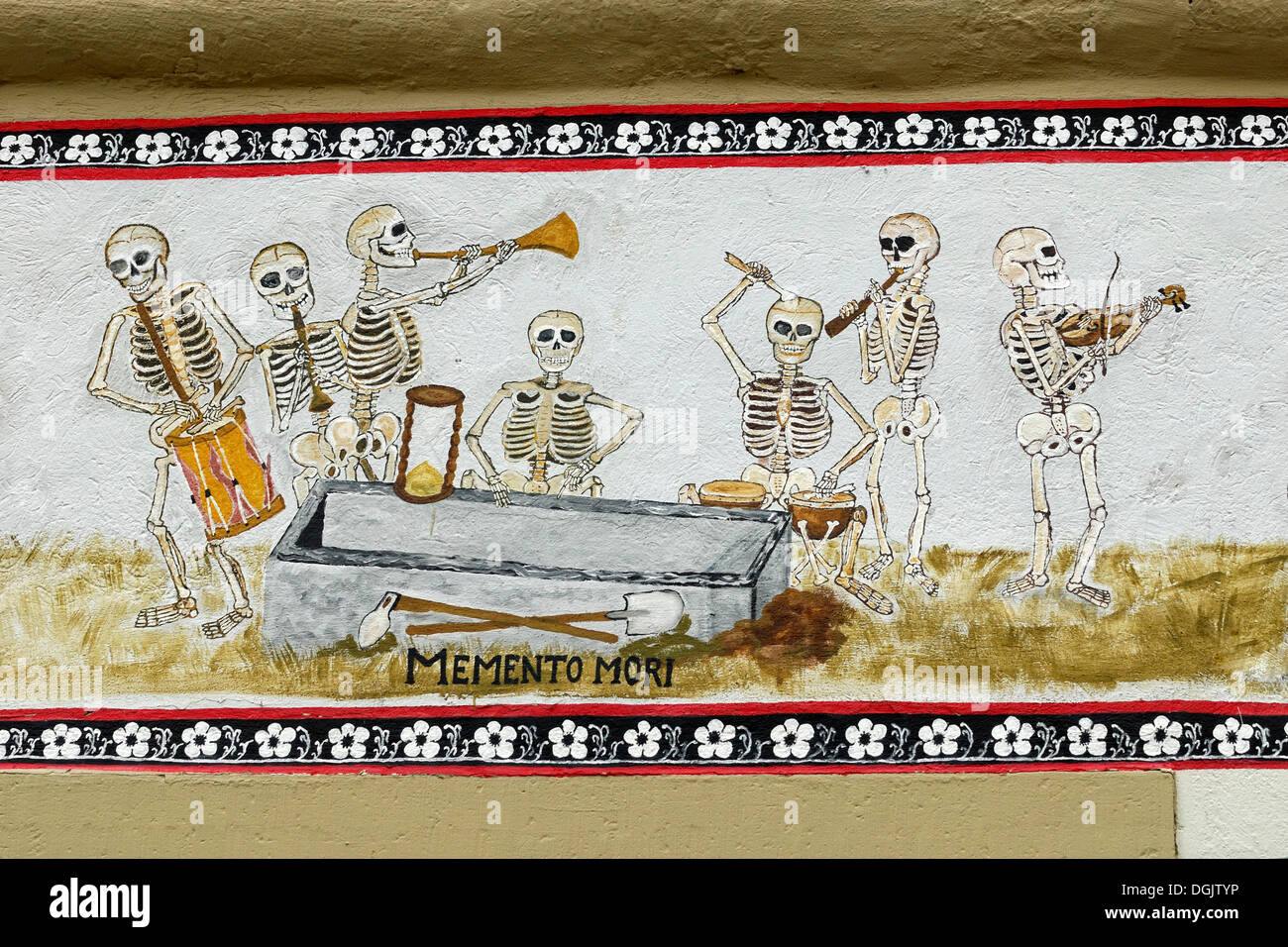 Danse Macabre or Dance of Death motif on an old half-timbered house, Eppingen, Baden-Wuerttemberg - Stock Image