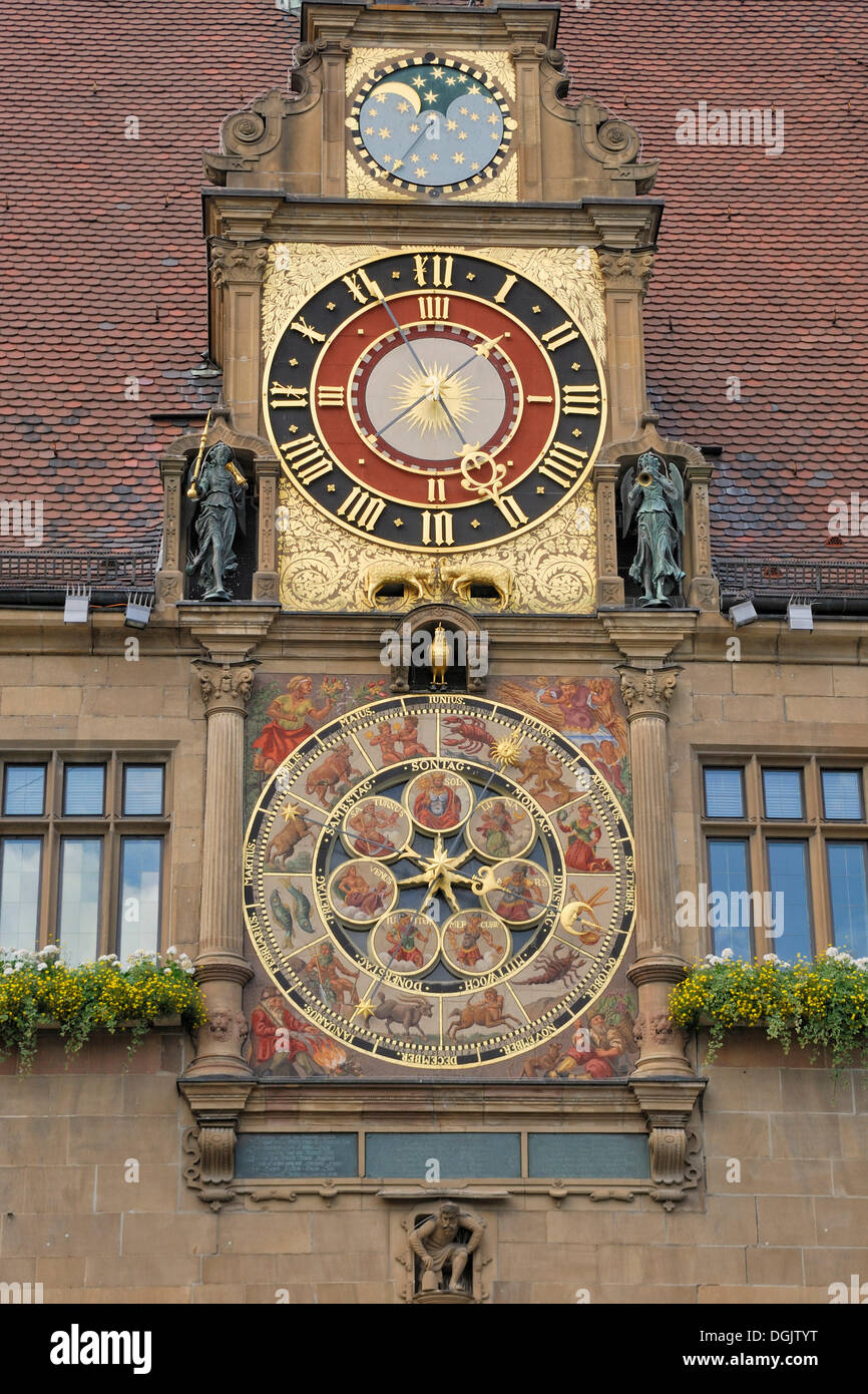 Astronomical clock with the cycles of the moon by Isaac Habrecht on the Town Hall of Heilbronn, Baden-Wuerttemberg - Stock Image
