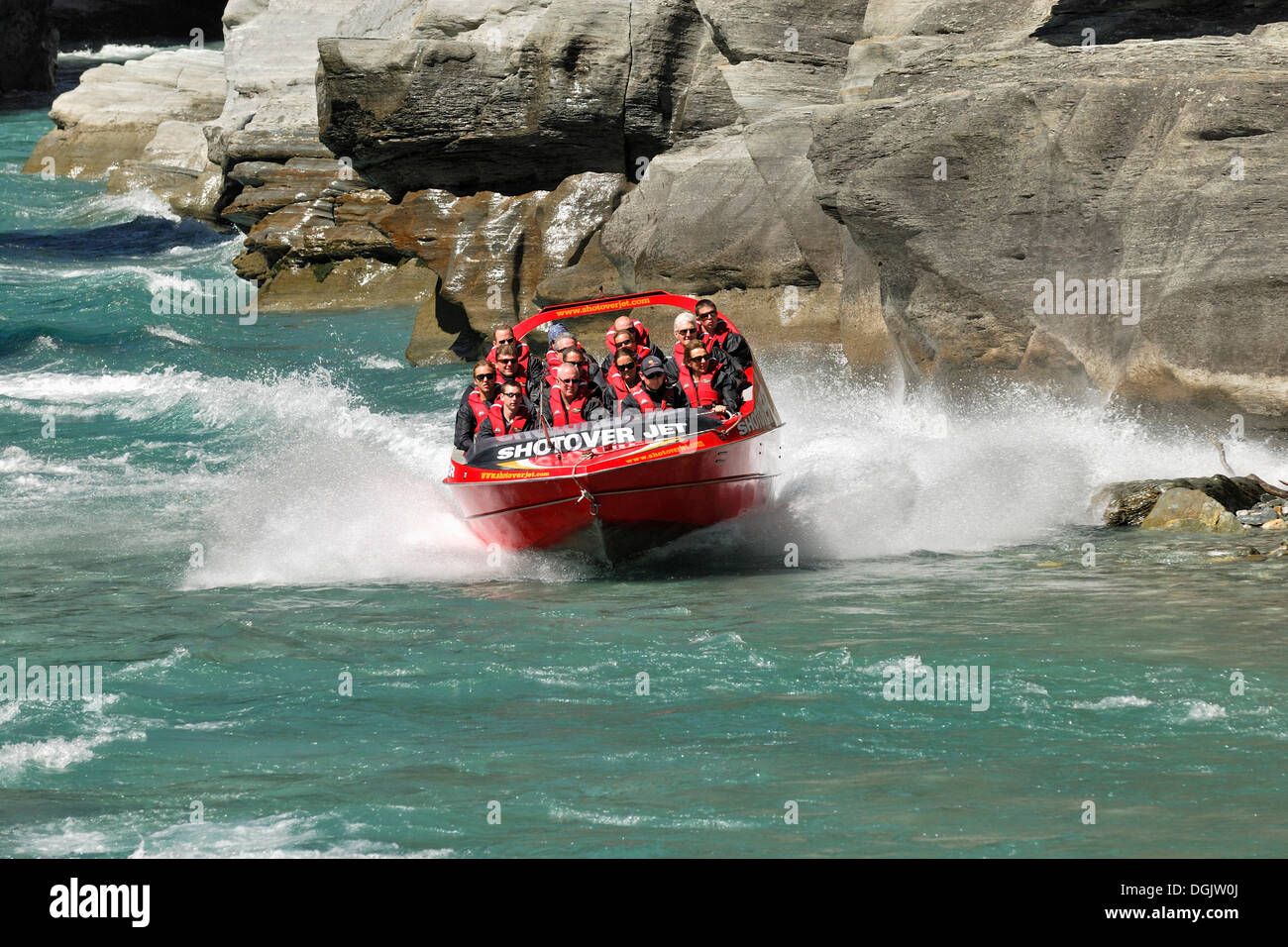 Jet boat, speed boat on Shotover River, Queenstown, South Island, New Zealand - Stock Image