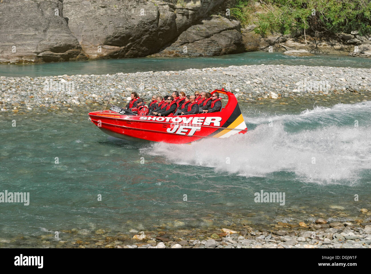 Jetboat, speedboat on the Shotover River, Queenstown, South Island, New Zealand - Stock Image