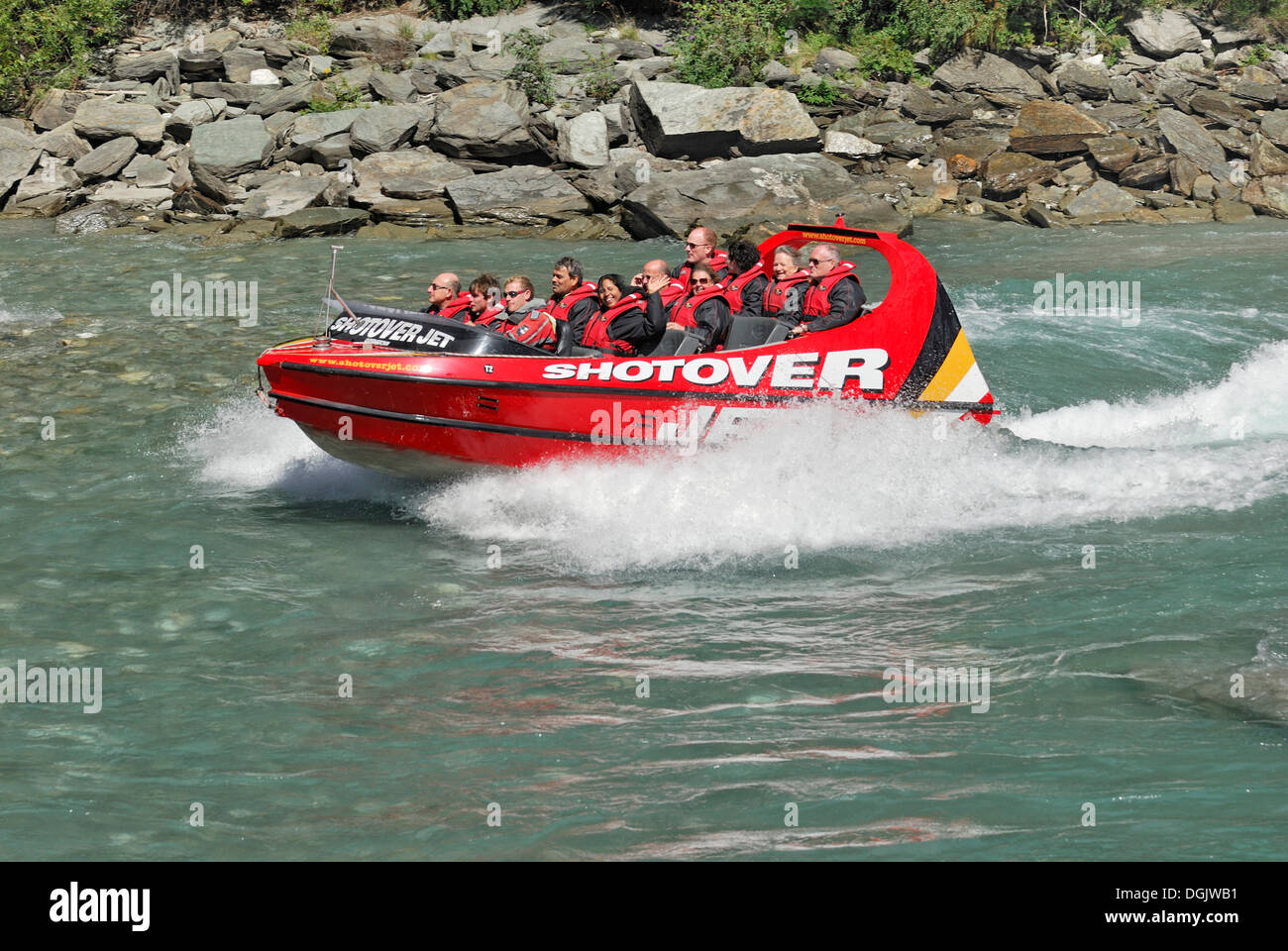 Jet boat, speed boat on the Shotover River, Queenstown, South Island, New Zealand - Stock Image