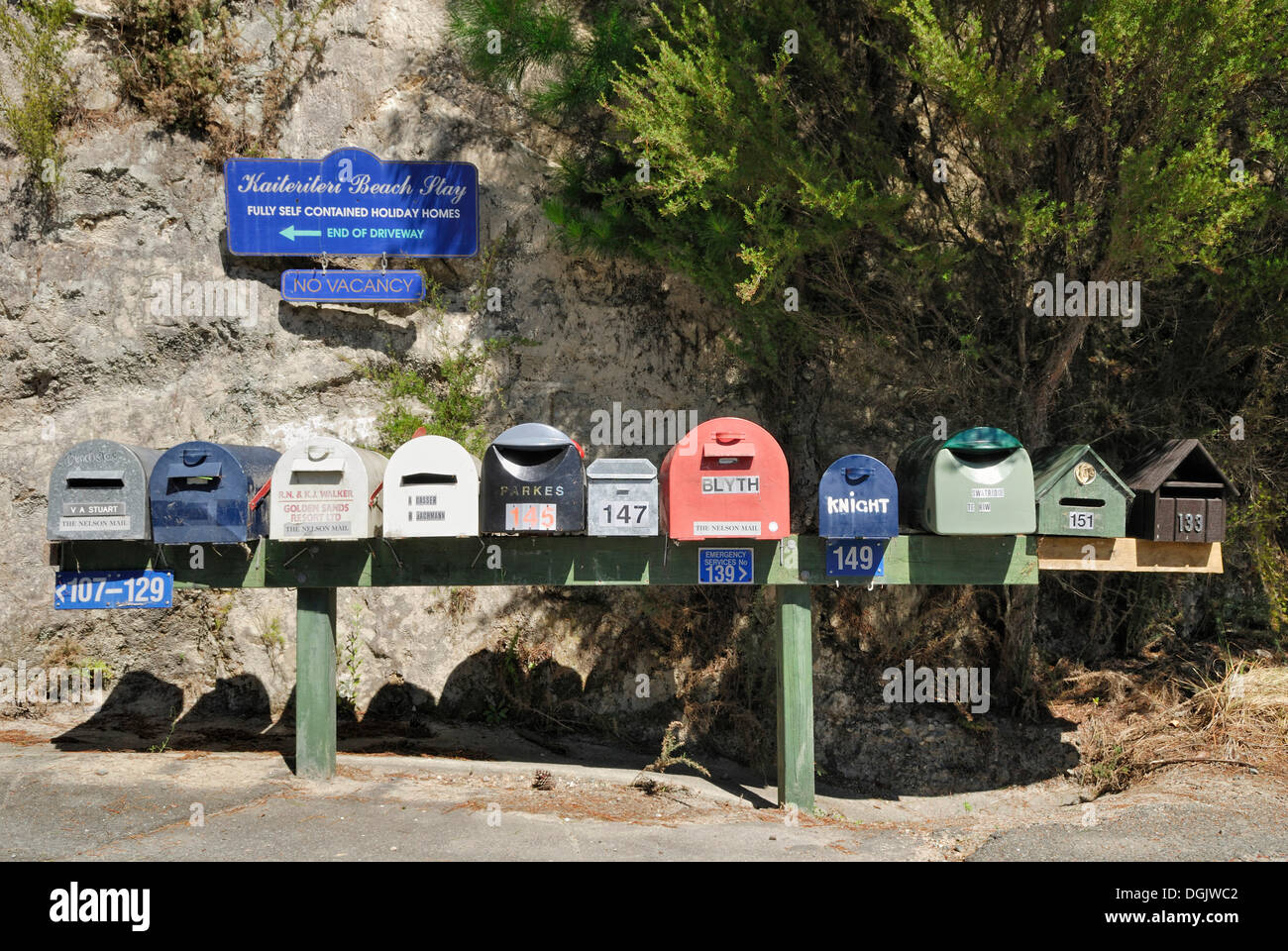 Mailboxes, Kaiteriteri, Tasman Bay, West Coast, South Island, New Zealand - Stock Image