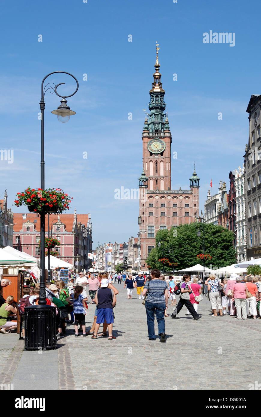 City Hall of Gdansk on the Long Market - Ratusz Glownego Miasta. Stock Photo