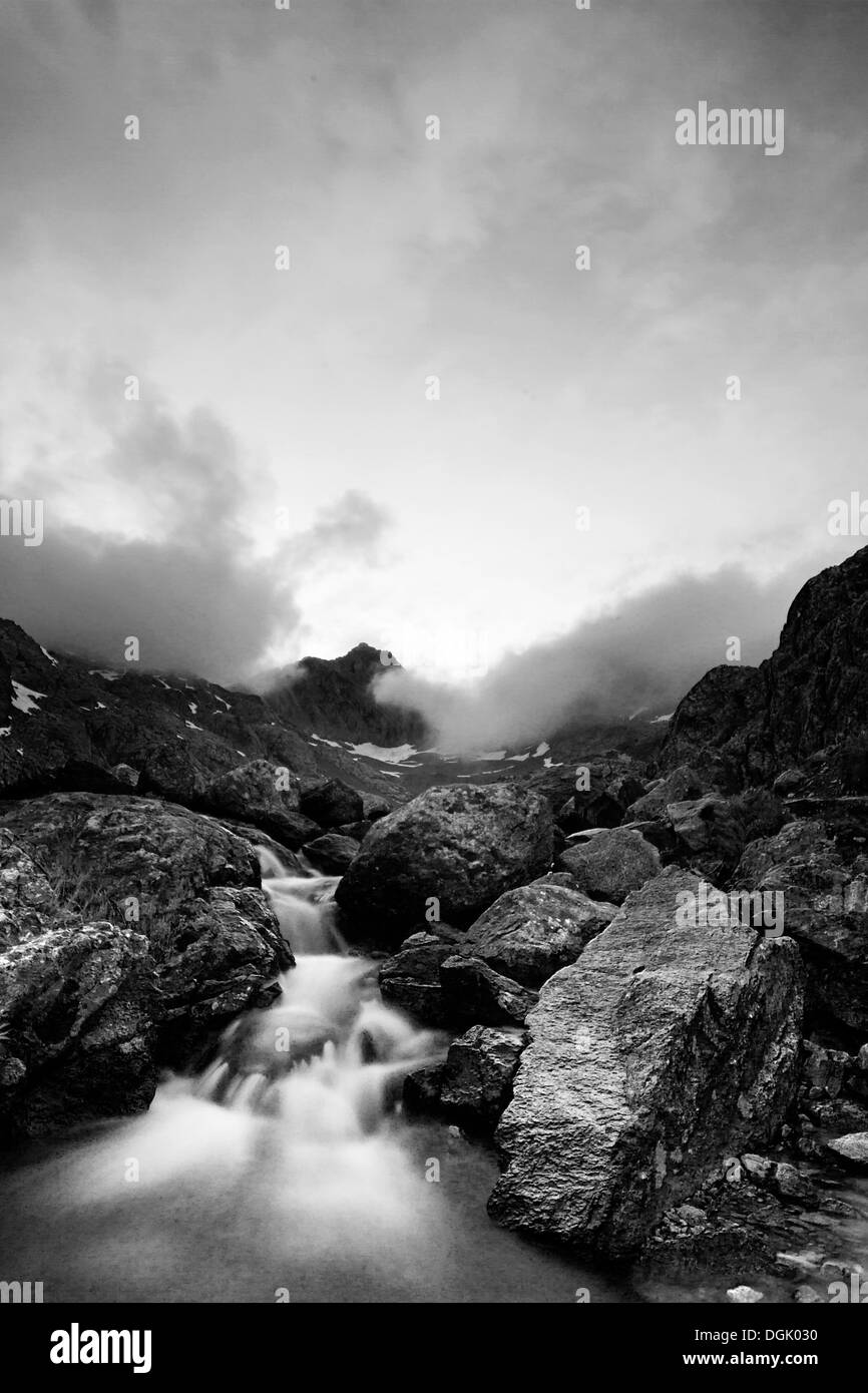 Black and white landscape from Lac Blanc-French Alps - Stock Image