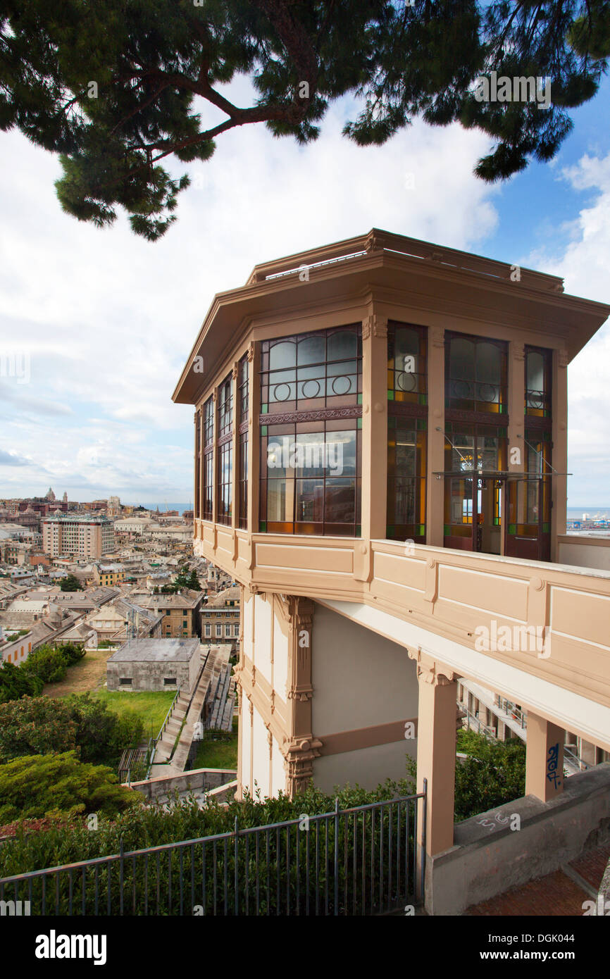 Top Station of the Lift up to the Castelletto Viewpoint over Genoa Liguria Italy - Stock Image