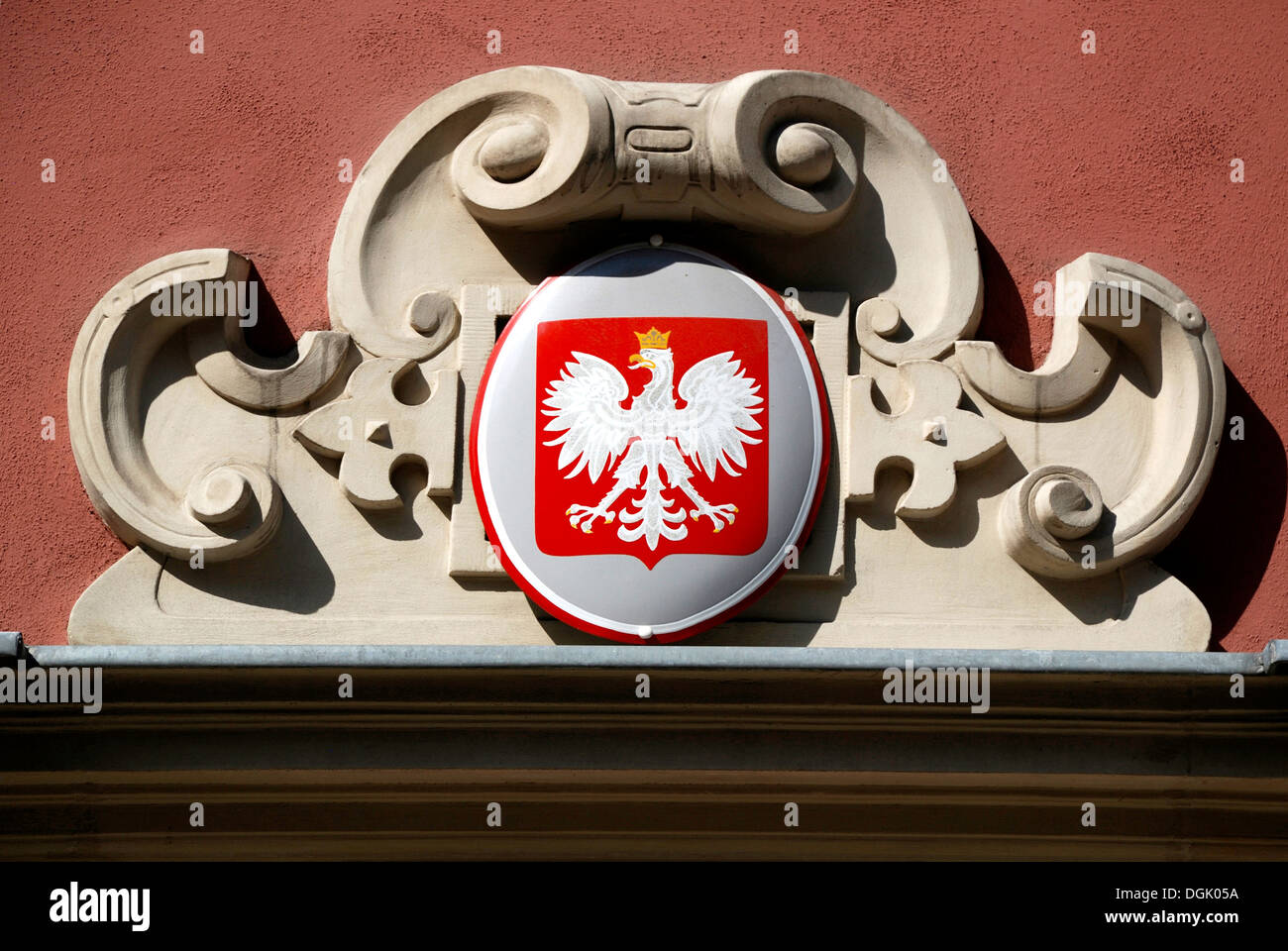 Coat of arms of Poland at the Town Hall of Gdansk. - Stock Image