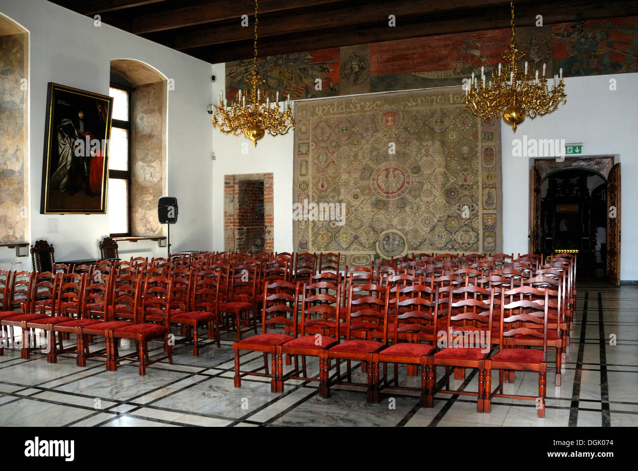 Great Council Chamber in the Town Hall of Gdansk. - Stock Image