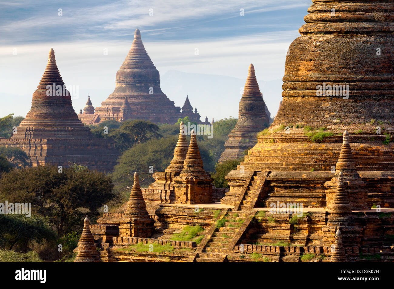 The Temples and Pagodas of Bagan in Myanmar in early morning. Stock Photo