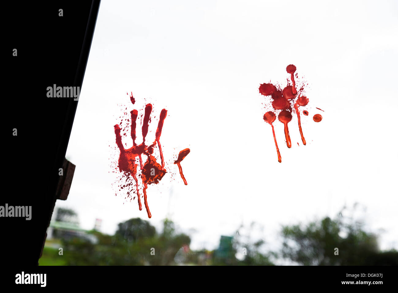 Bloody handprint on glass door Stock Photo: 61882902 - Alamy