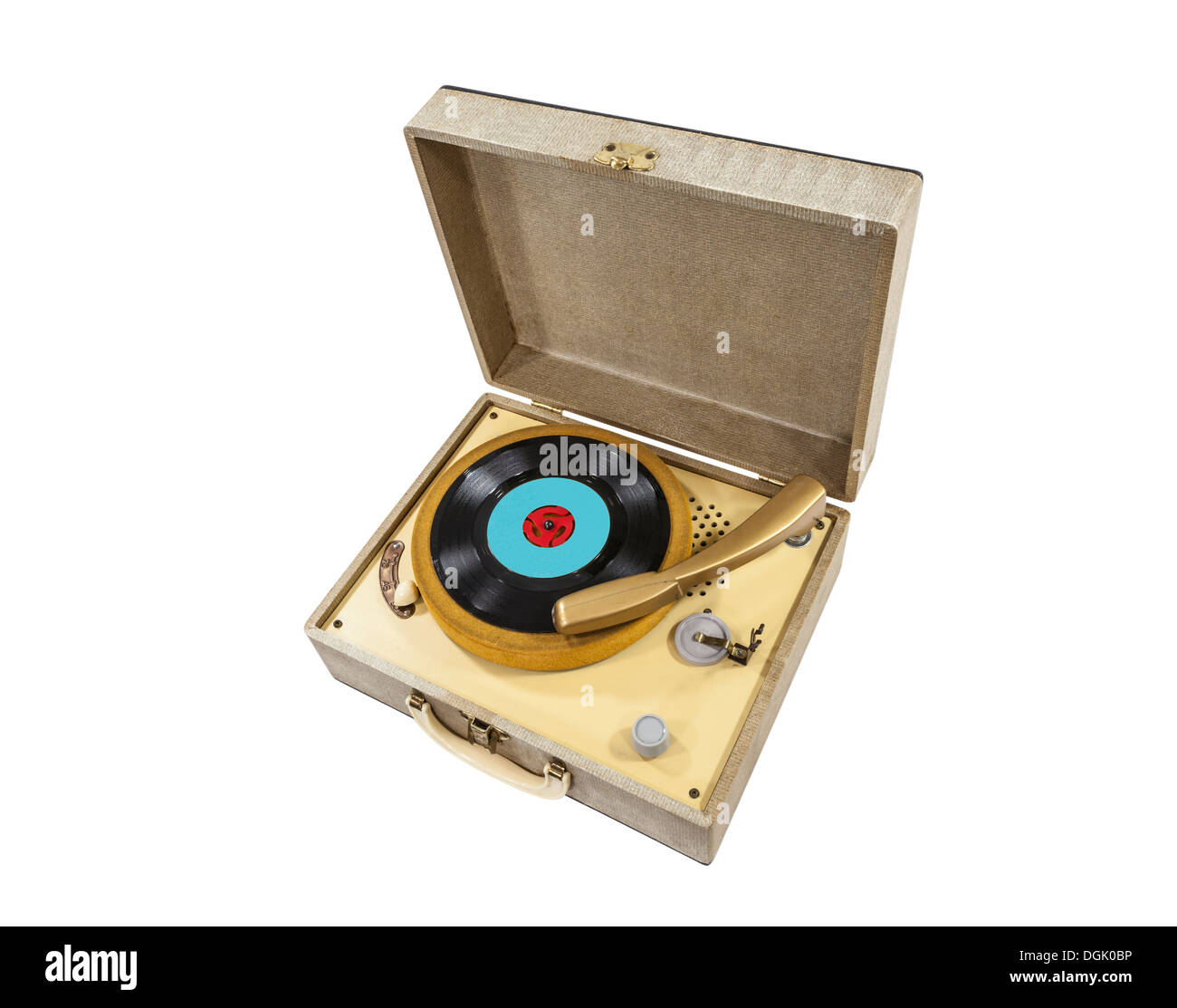 Vintage little record player in box. - Stock Image