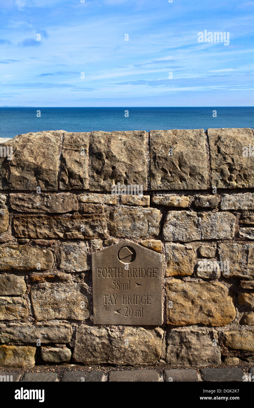 Sign with Distances to Forth and Tay Bridges at St Andrews Fife Scotland - Stock Image