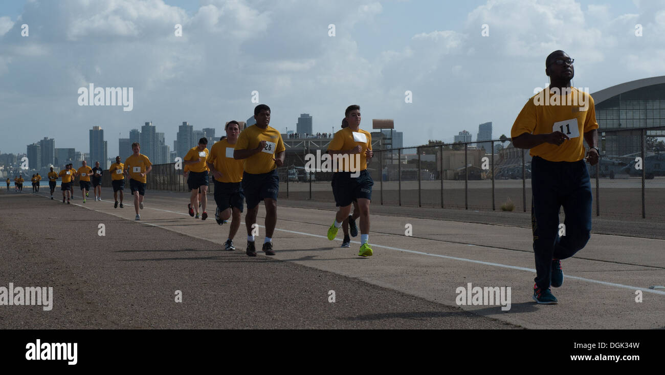 Sailors assigned to the Nimitz-class aircraft carrier USS Carl Vinson (CVN 70) participate in a Physical Readiness Stock Photo