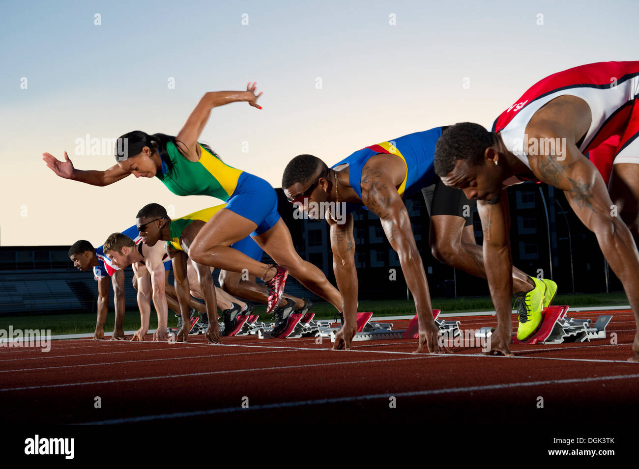 False Start In Race Woman Running Against Men