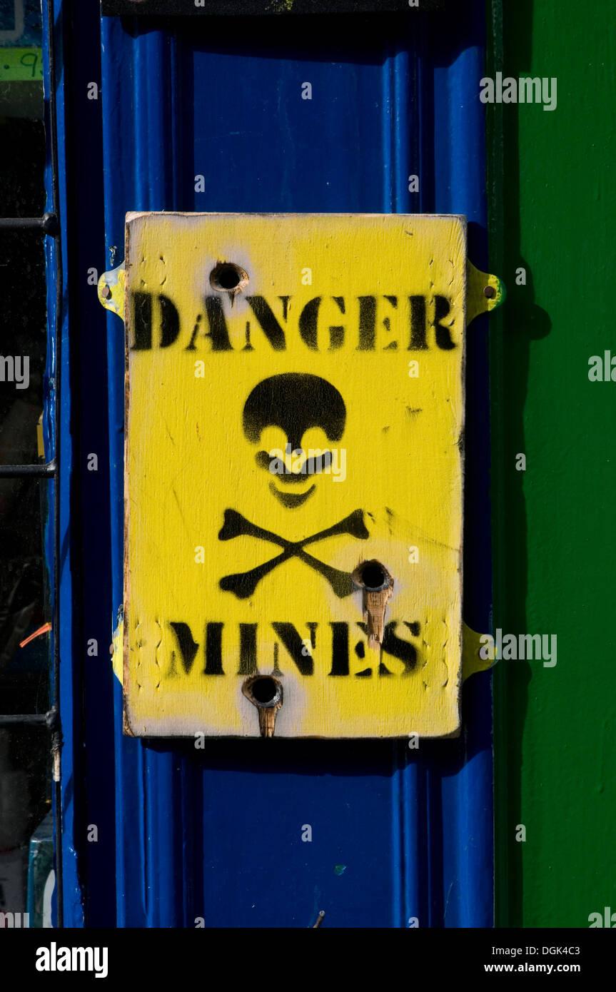 danger land mine mines field landmine landmines minefield fields clearing clearance minefields - Stock Image