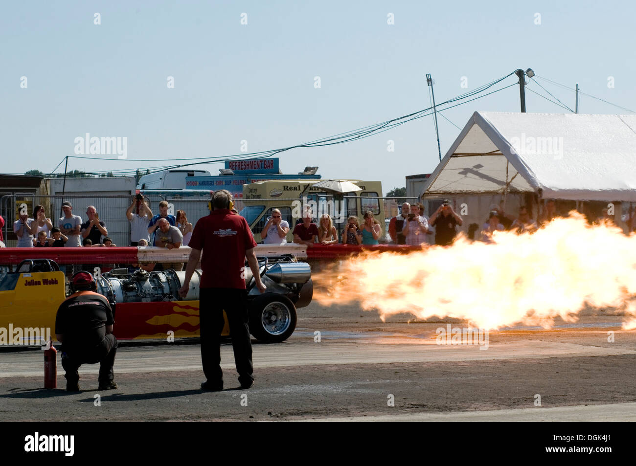 flame from a jet powered dragster - Stock Image