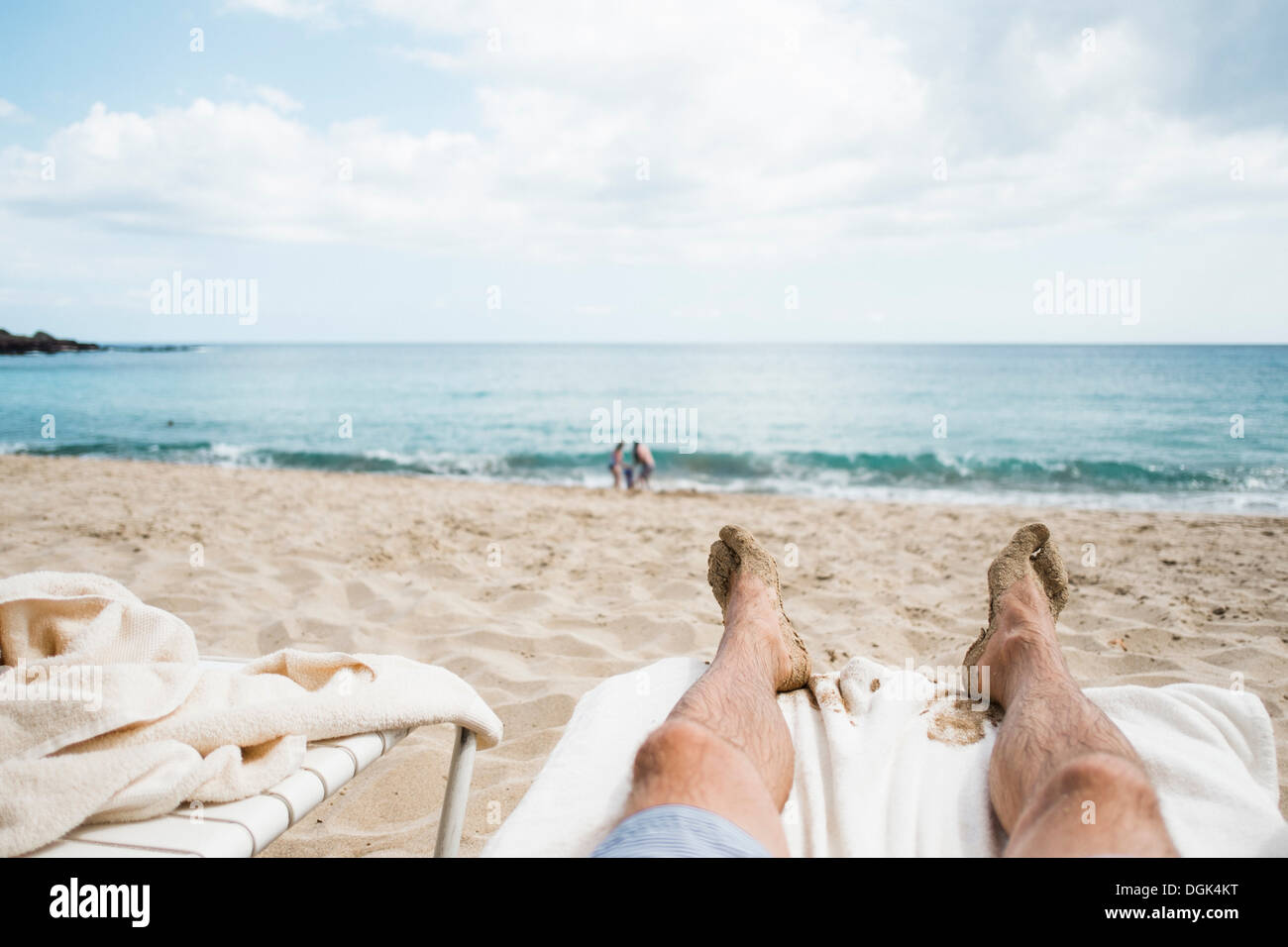View of beach from sun lounger, Lanai City, Hawaii, USA - Stock Image
