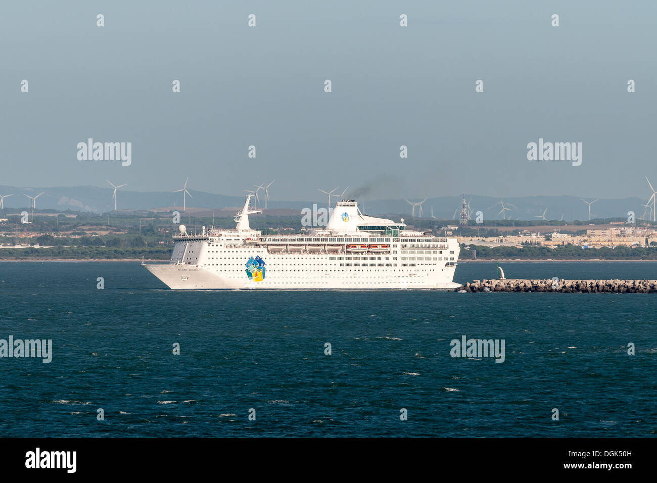 Island cruises, Island Escape cruise ship. Cruising the Mediterranean Sea, Europe - Stock Image