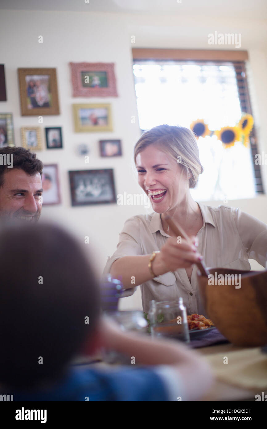 Family at meal time - Stock Image