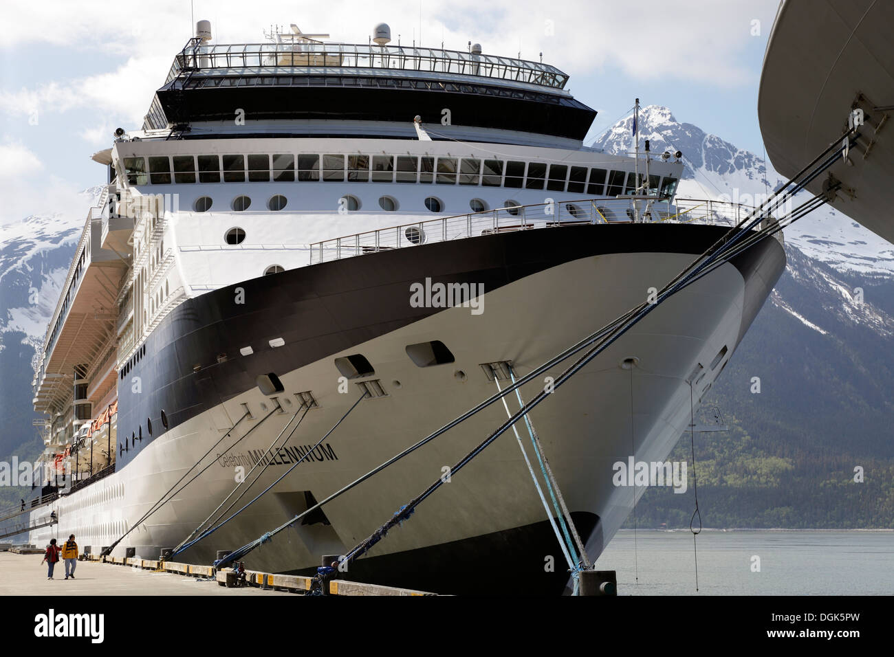 Cruise liners moored at Skagway in Alaska. - Stock Image