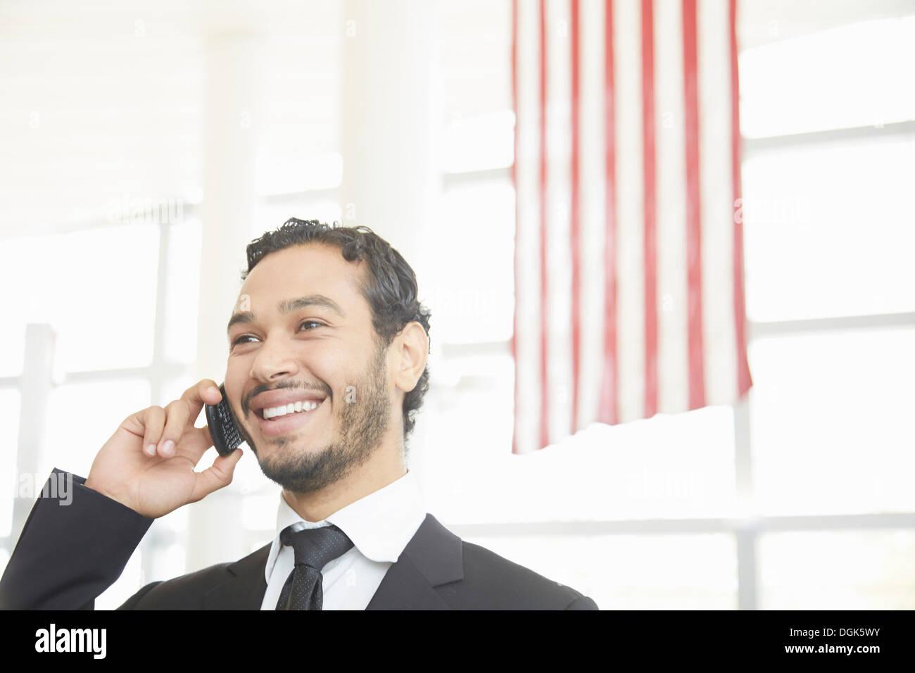 Businessman making phonecall - Stock Image