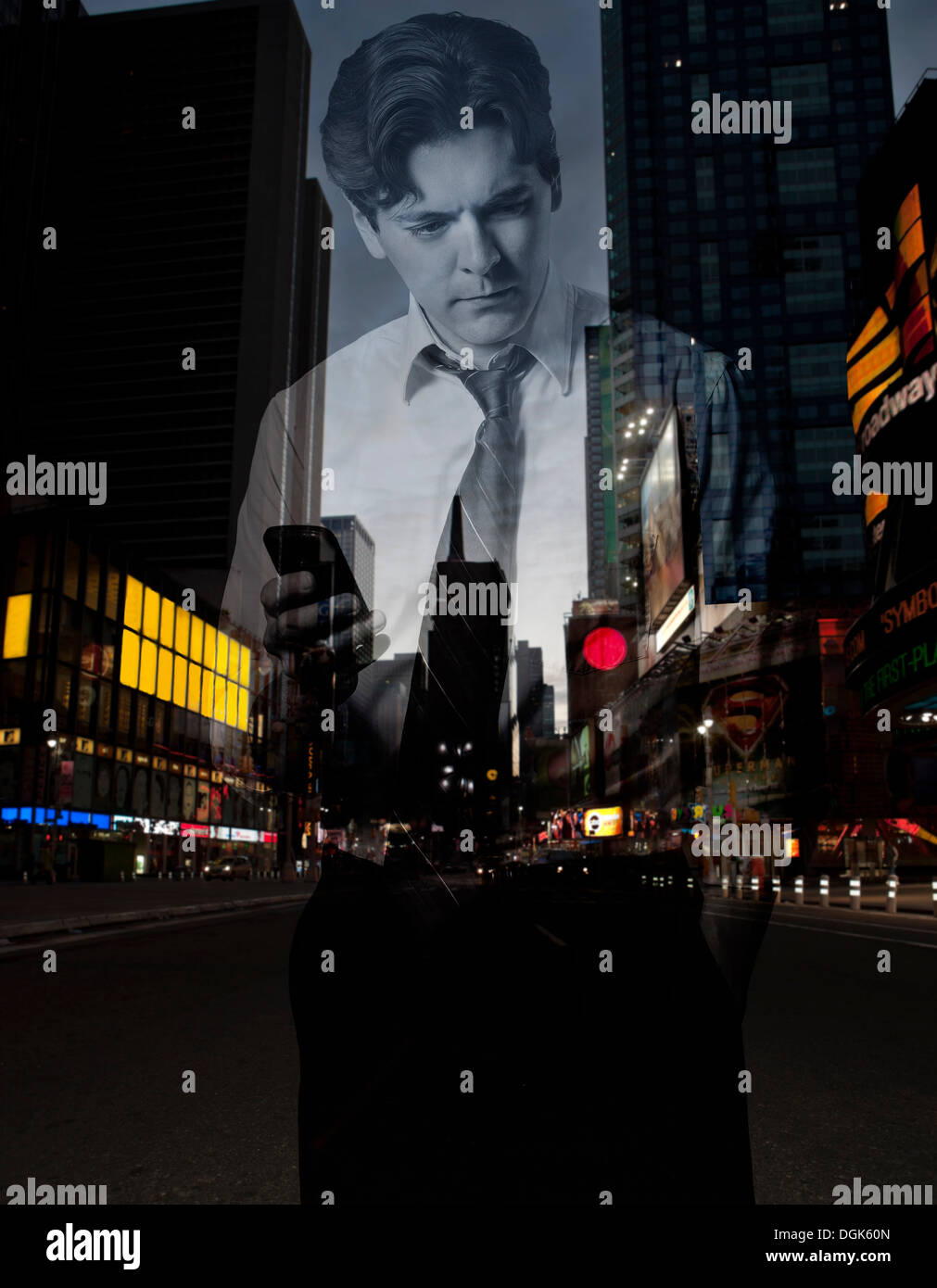 Double exposure of stressed businessman with smartphone against city scene - Stock Image