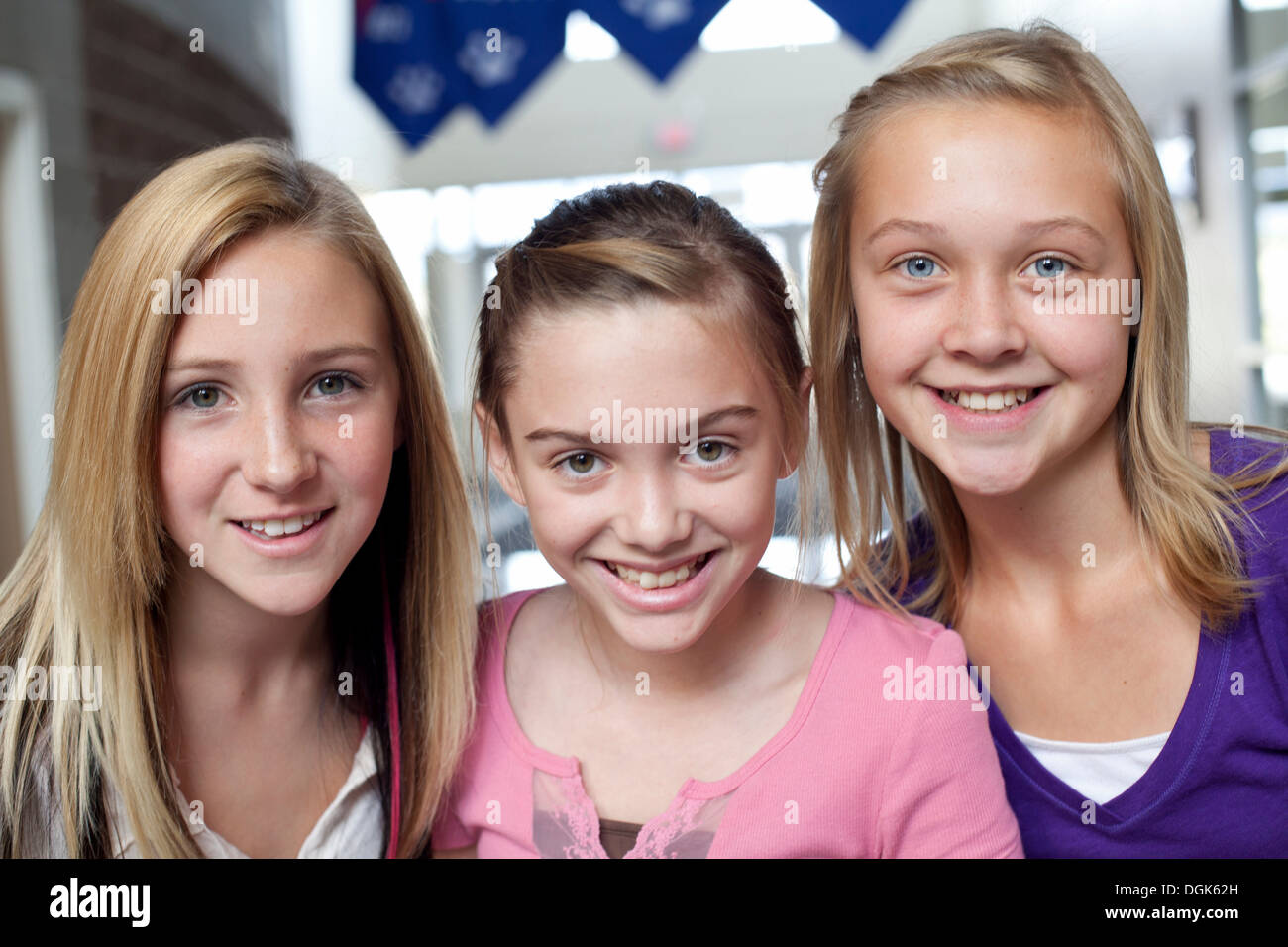 Close Up Portrait Of Three Teen And Pre-Adolescent Girls Smiling Stock Photo 61887465 -6205