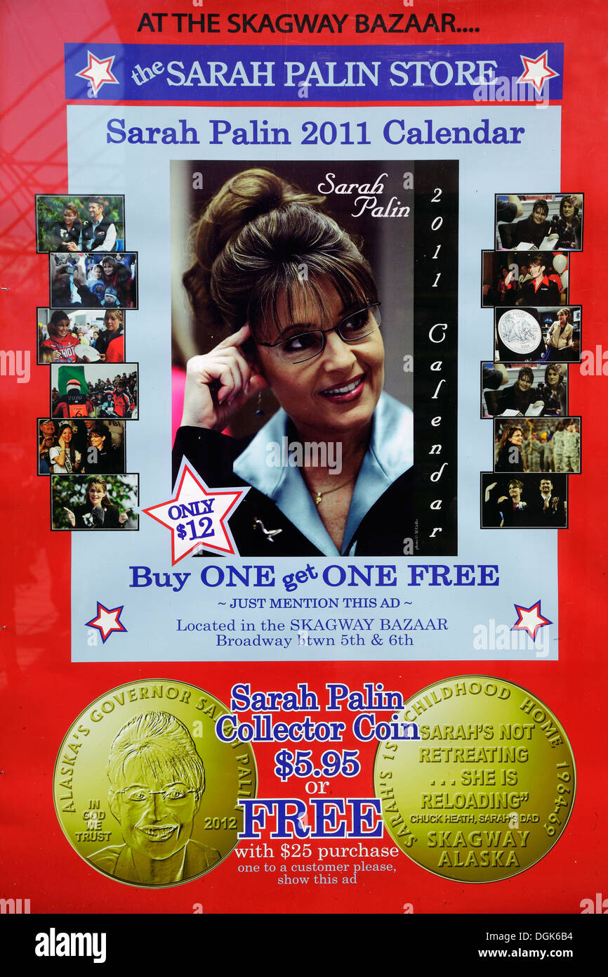 A scary Sarah Palin poster in shop window in Skagway in Alaska. - Stock Image