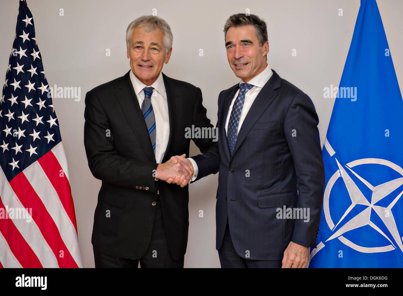US Secretary of Defense Chuck Hagel meets with NATO Secretary General Anders Fogh Rasmussen October 22, 2013 in Stock Photo