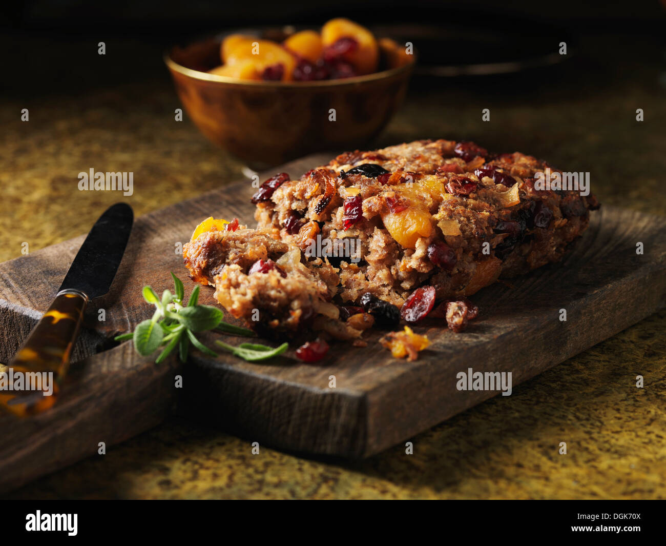Pork and cranberry stuffing with dried apricots - Stock Image