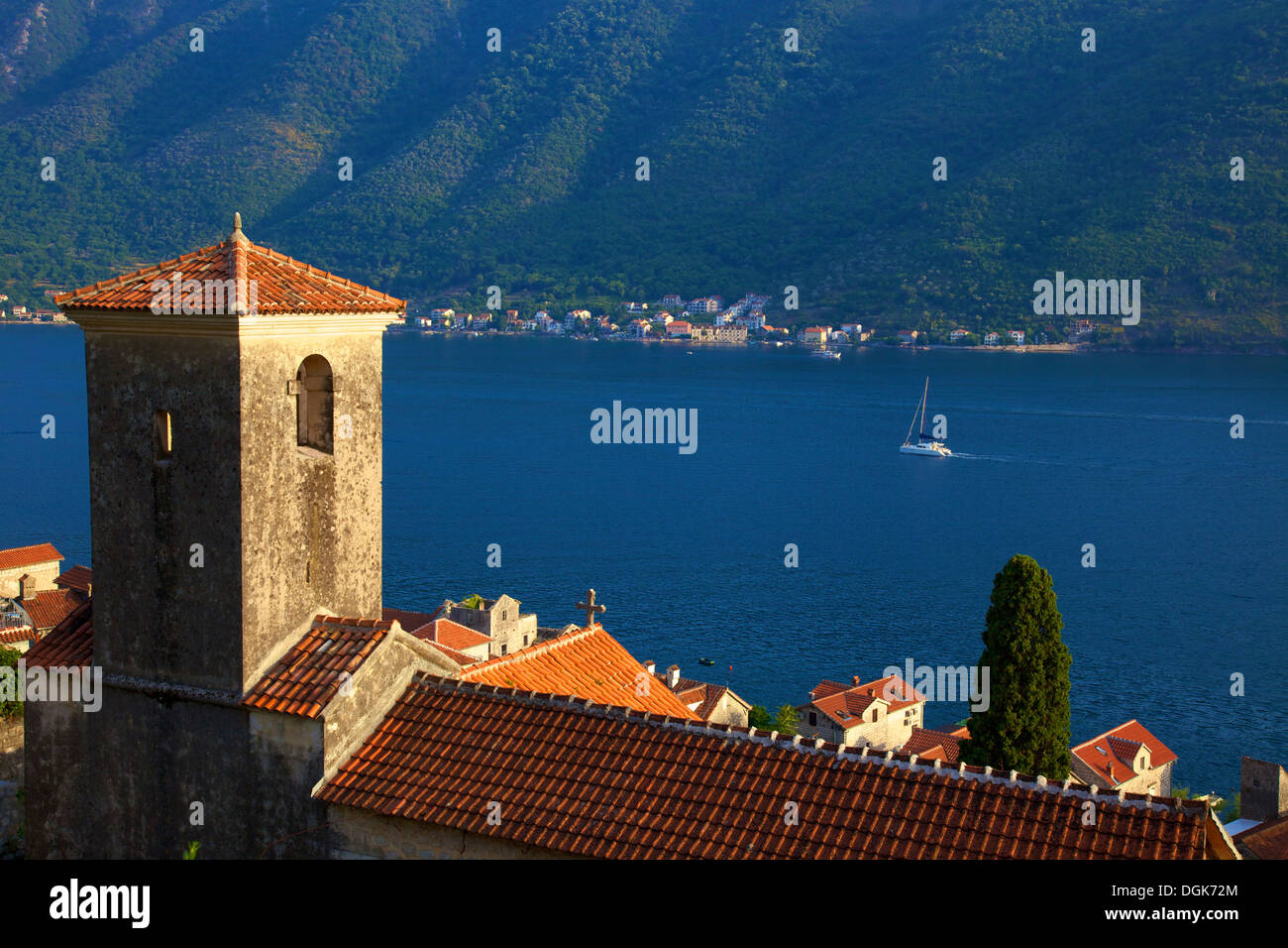 Kotor Bay Viewed From Perast, Montenegro - Stock Image