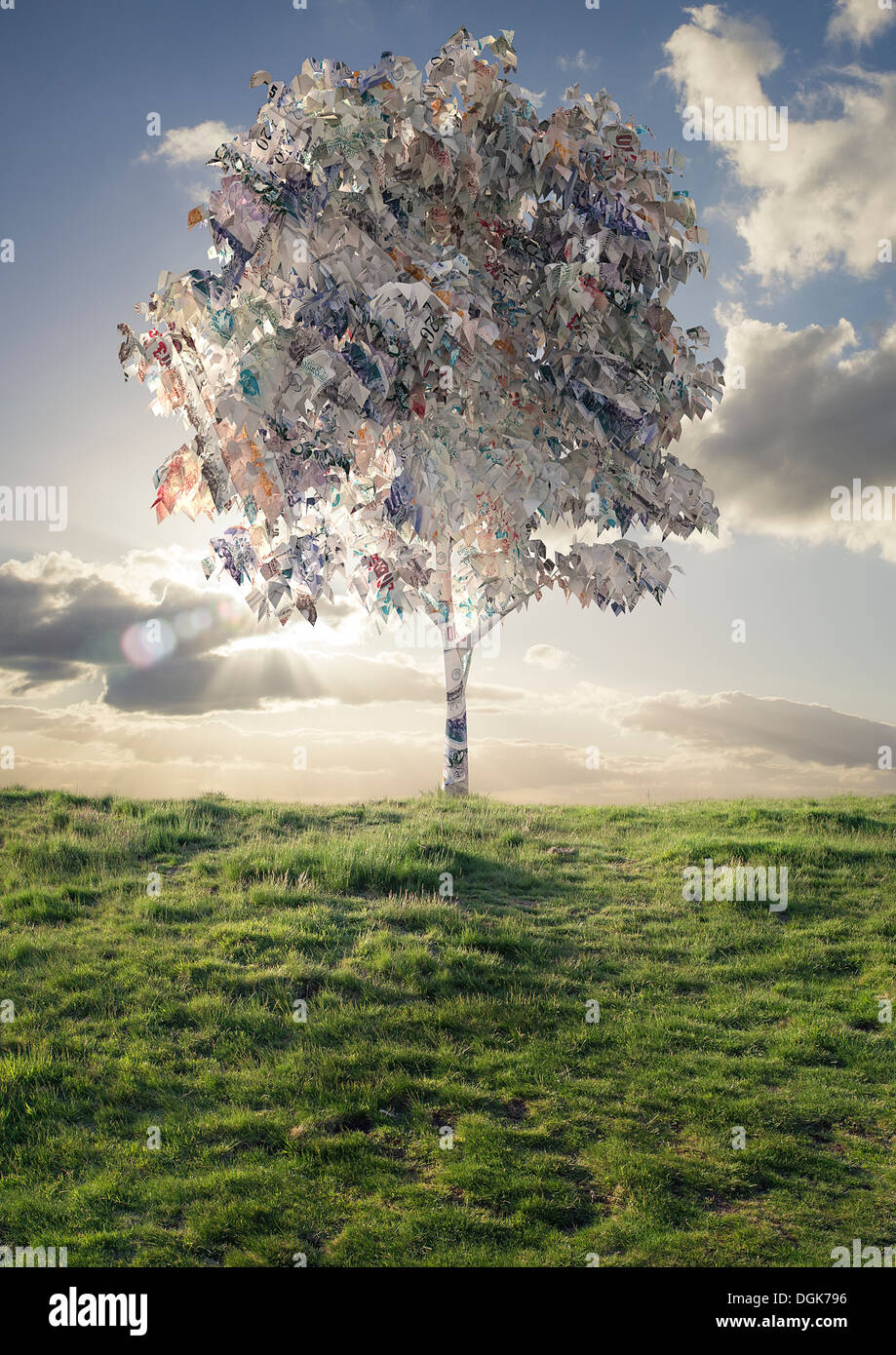 Model of tree with British bank notes foliage - Stock Image