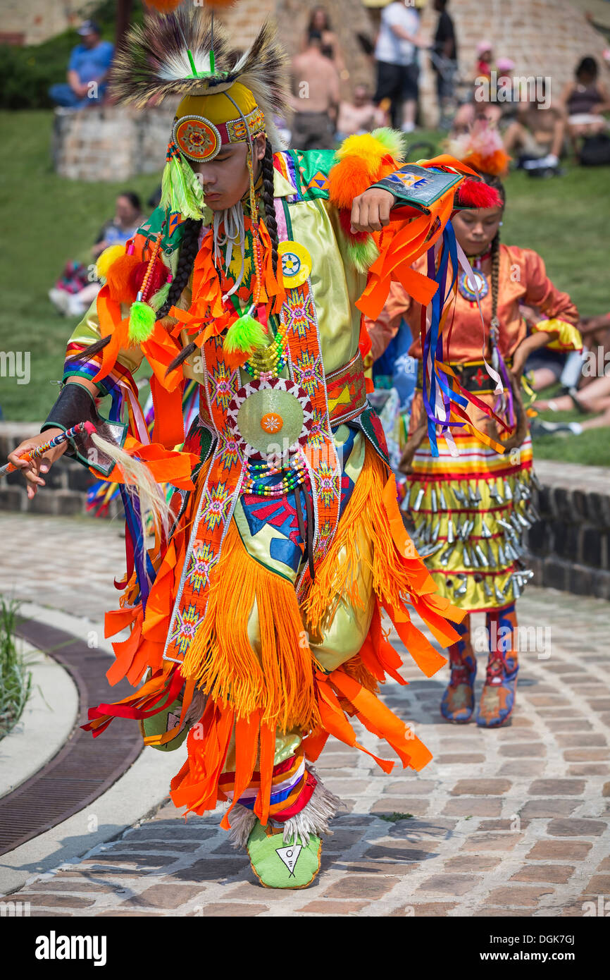 First Nations Dancers at a pow wow, The Forks, Winnipeg, Manitoba, Canada - Stock Image