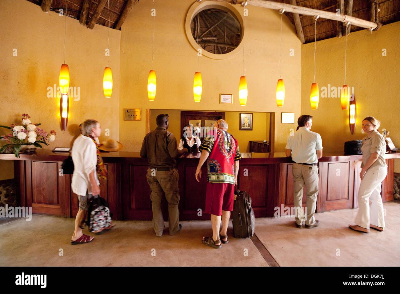 Reception desk, Chobe Safari Lodge Hotel, Chobe National Park Botswana, Africa - Stock Image