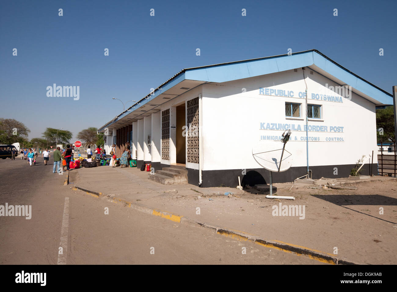 The Kazungula border post at the entrance to Botswana from Zambia, Africa - Stock Image