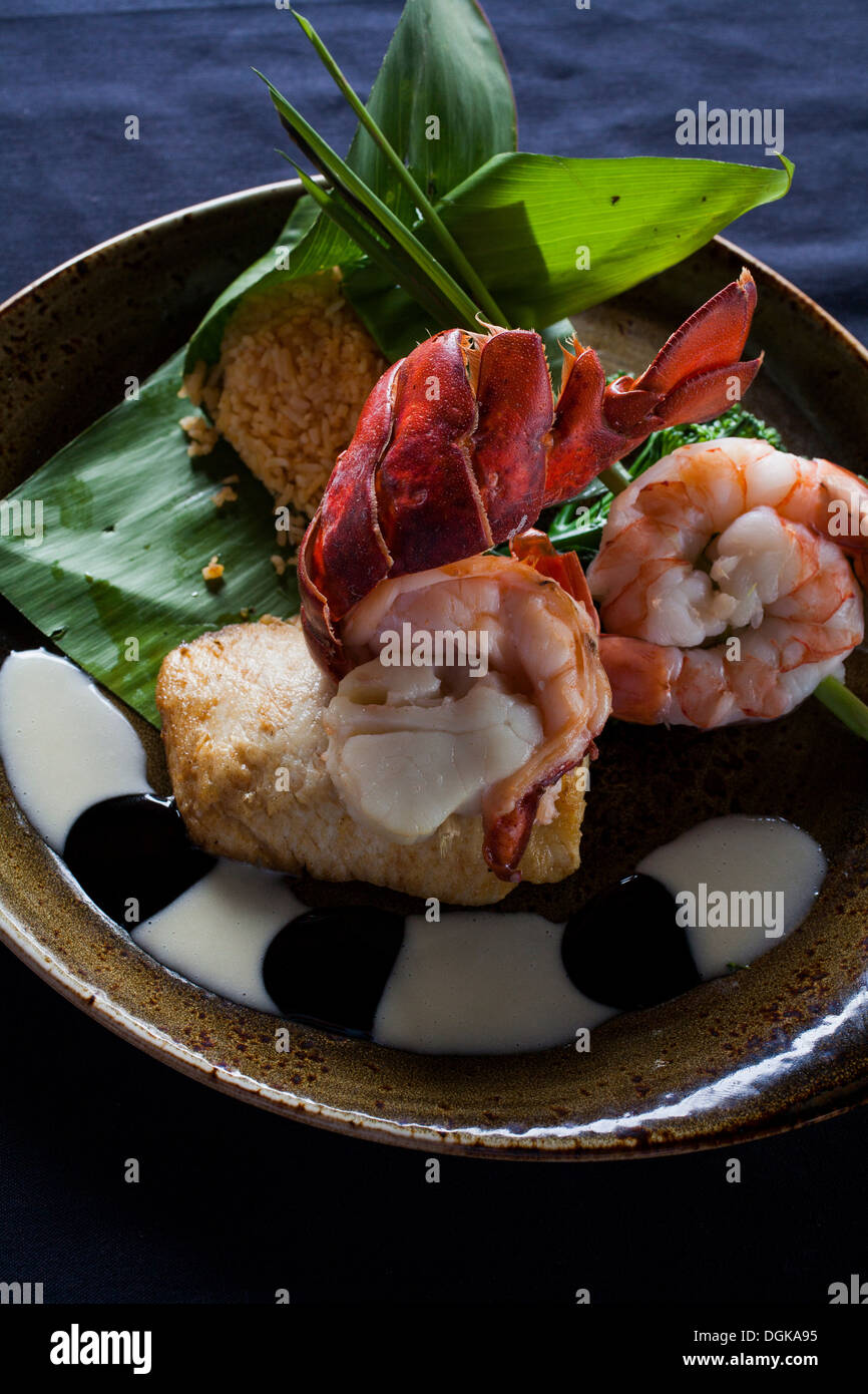 Hawaiian dish with prawns and garnish - Stock Image